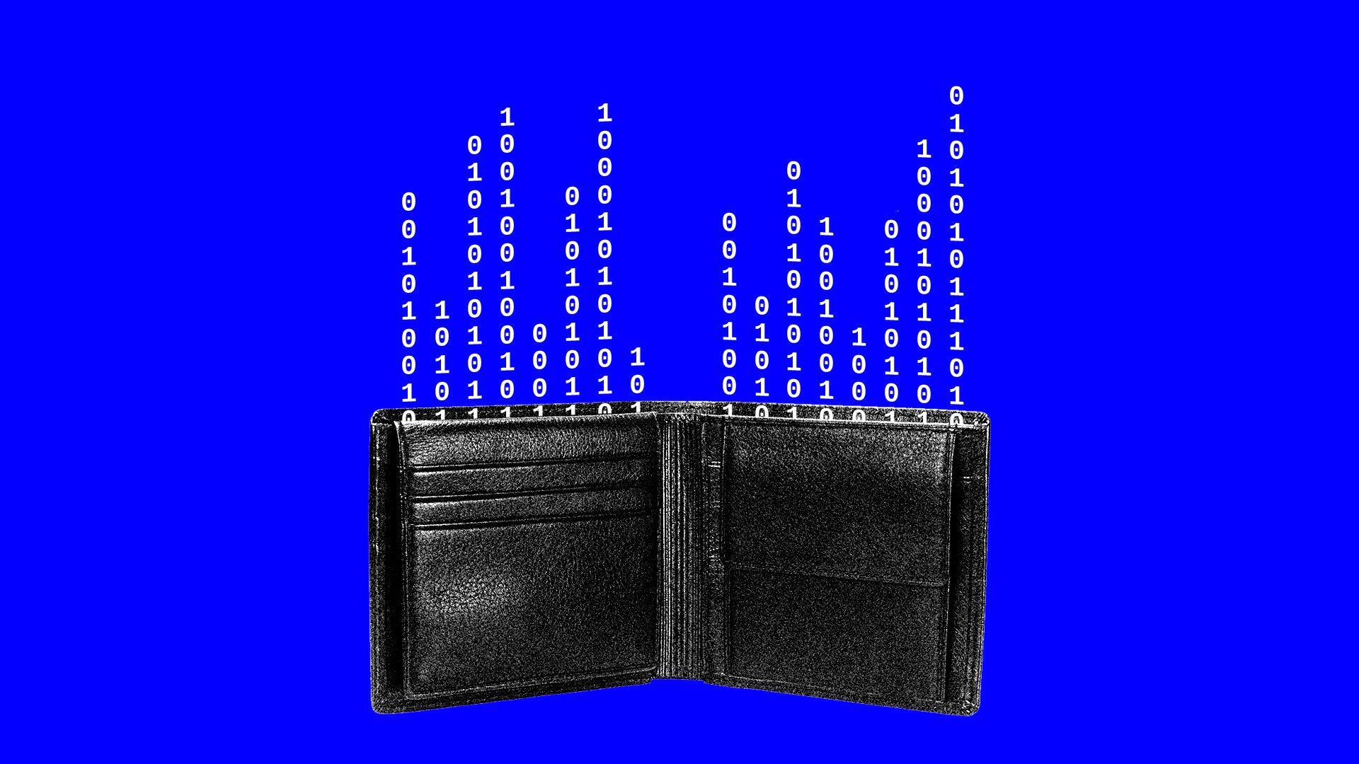 Illustration of wallet with binary code flowing out of it to represent digital money.