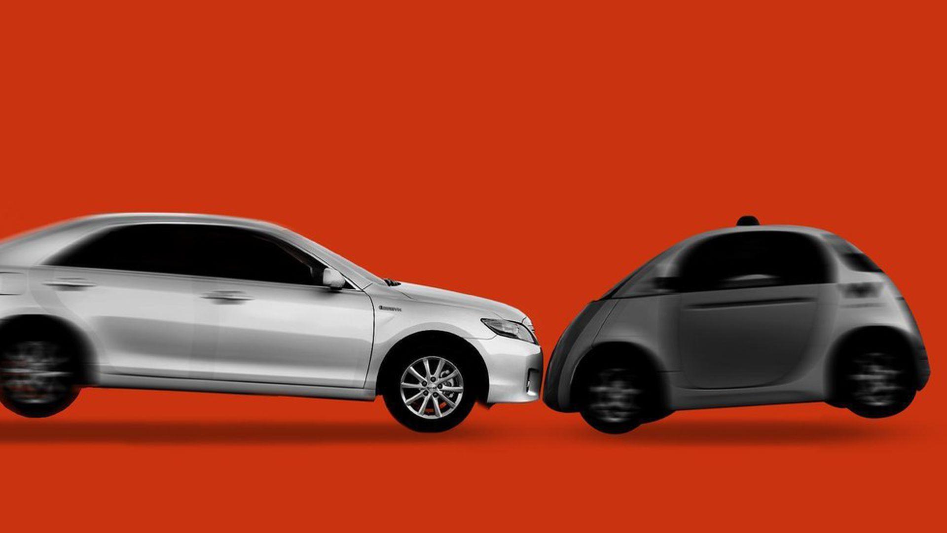 illustreation of uber car and waymo car colliding