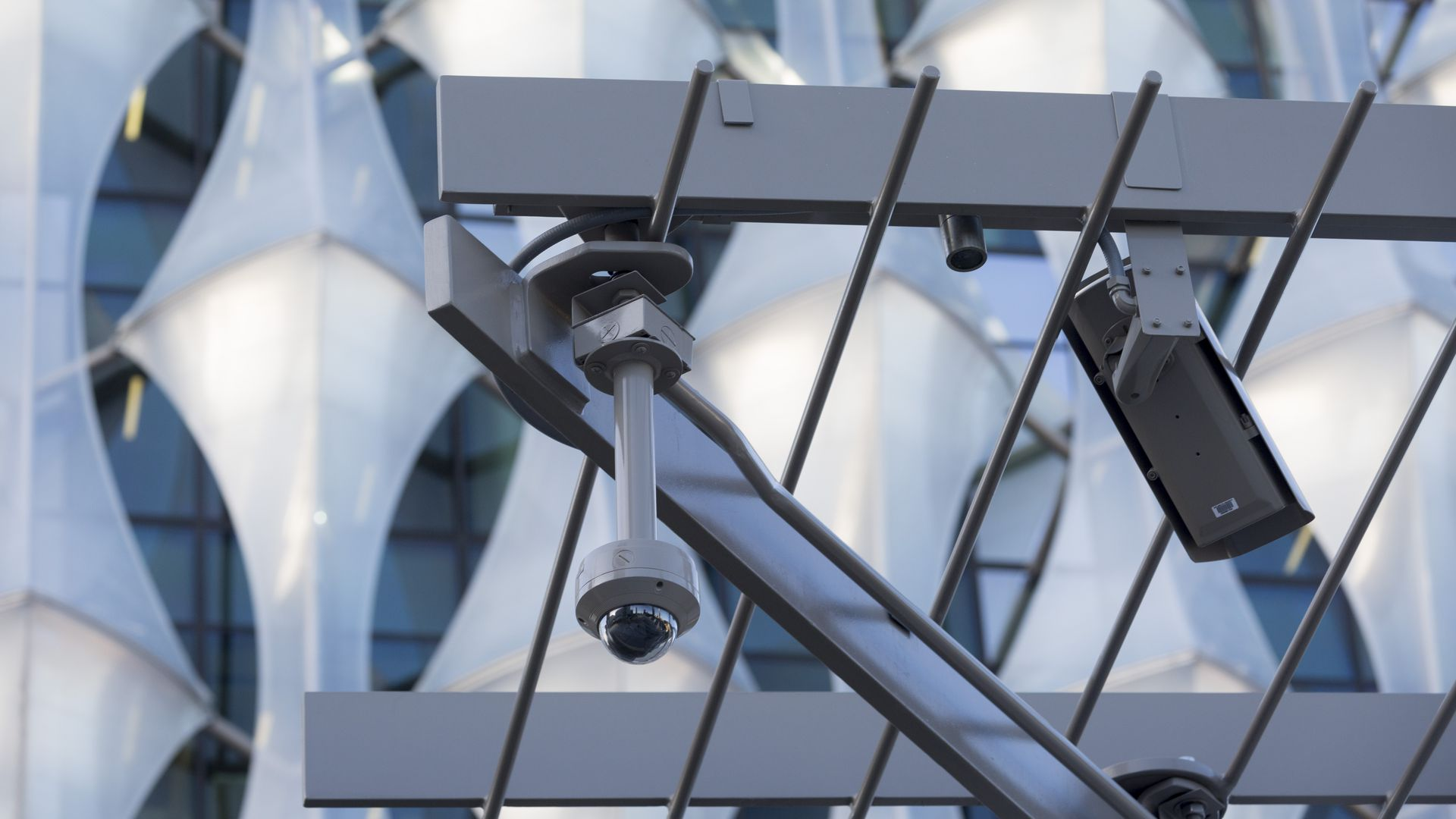A CCTV camera on the new U.S. Embassy in London