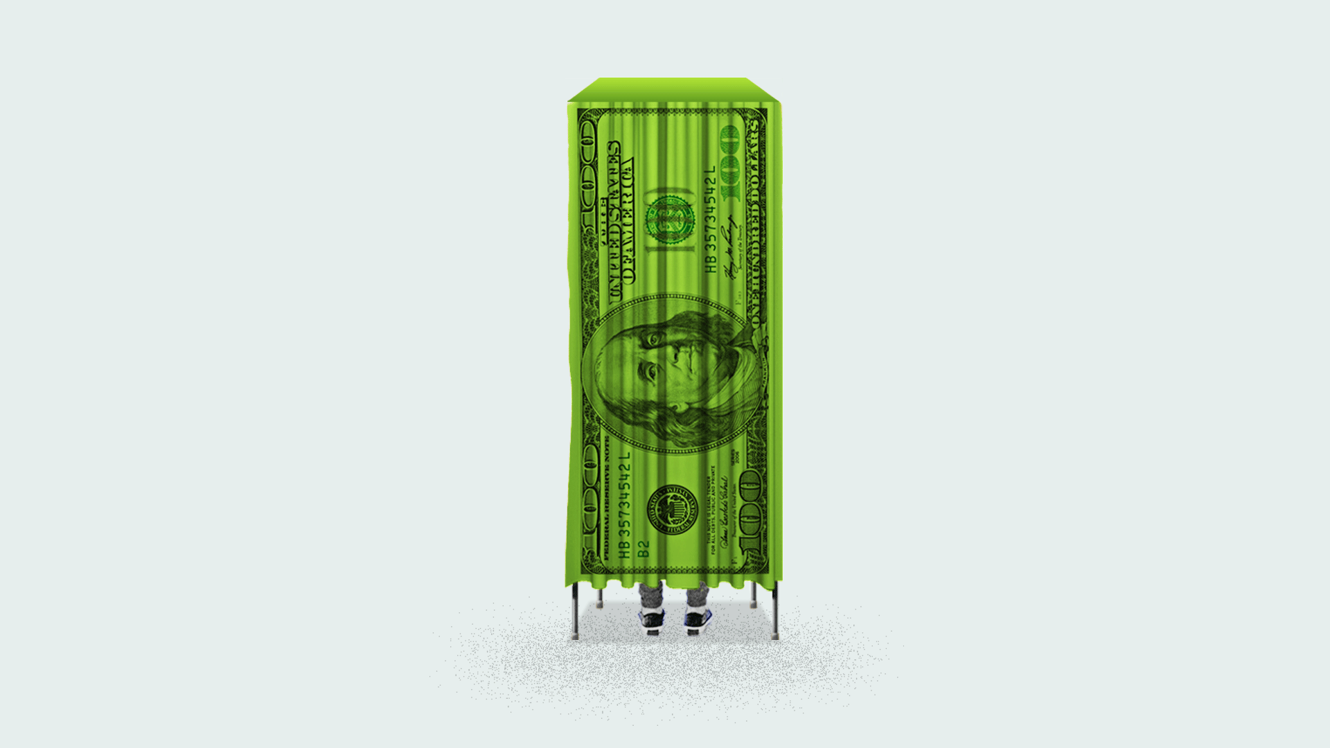 A voting booth made of money