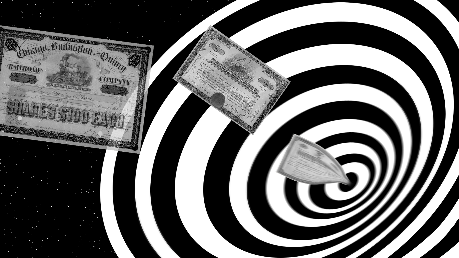 Illustration of stock certificates being sucked into a Twilight Zone style warp hole.