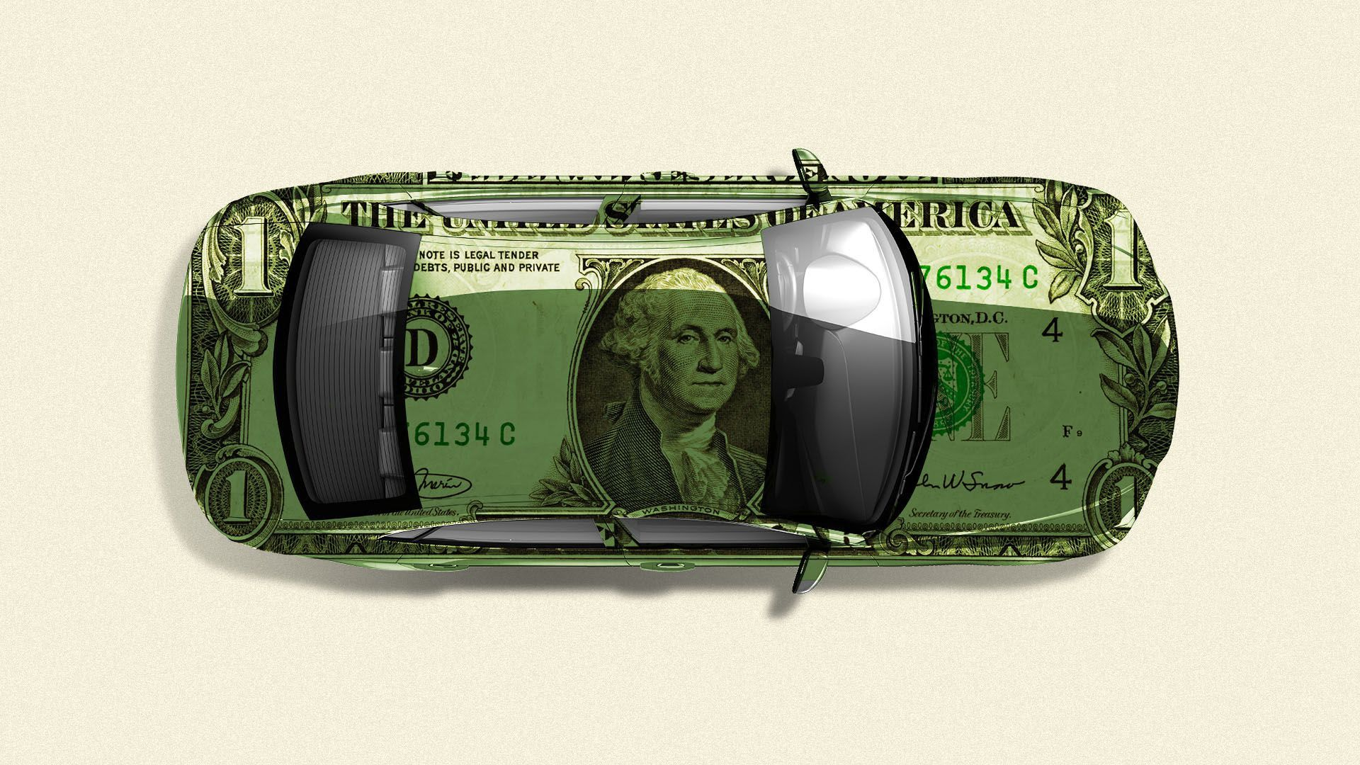 Illustration of car covered in dollar bills