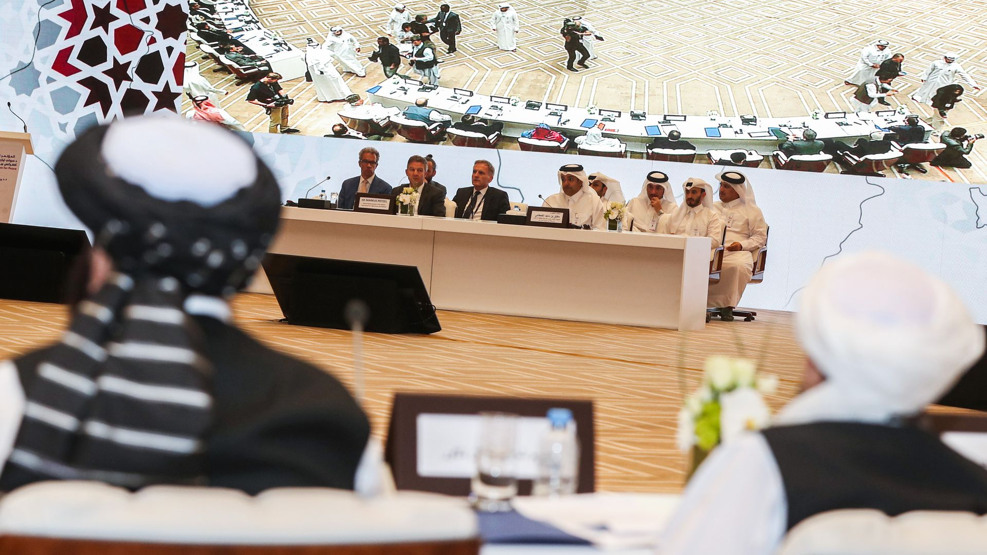 inside the meeting room of the intra Afghan talks in Doha on July 7–8