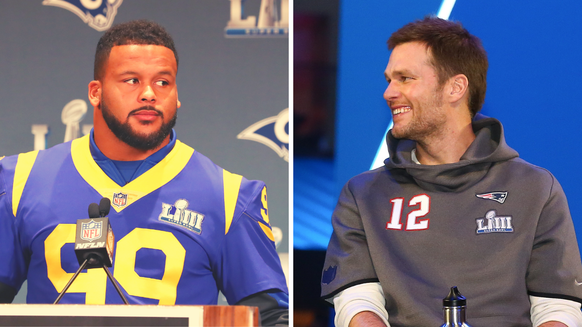 Aaron Donald and Tom Brady