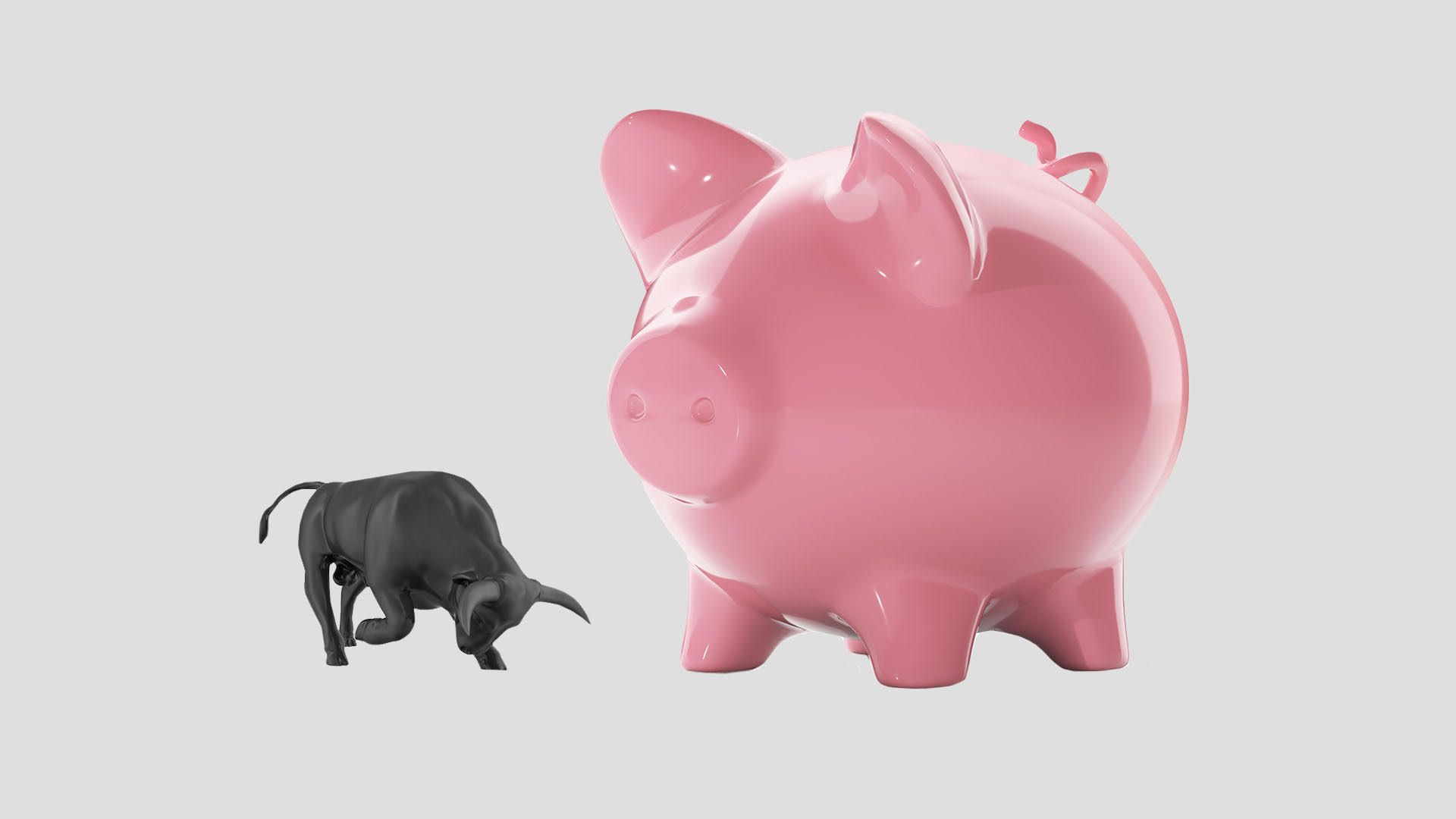 These days it's all about the piggy bank. A large pig and a small bull.