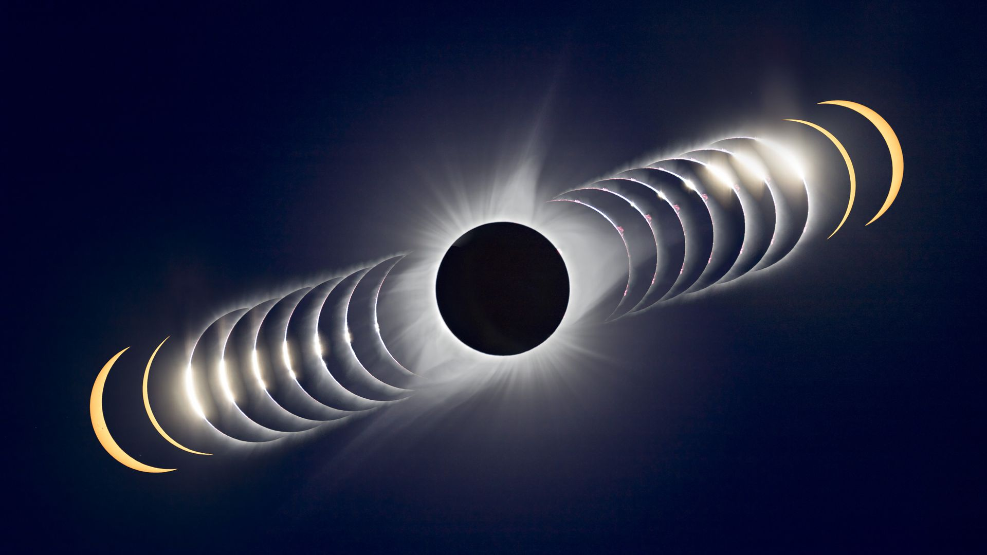 A time sequence composite of a solar eclipse