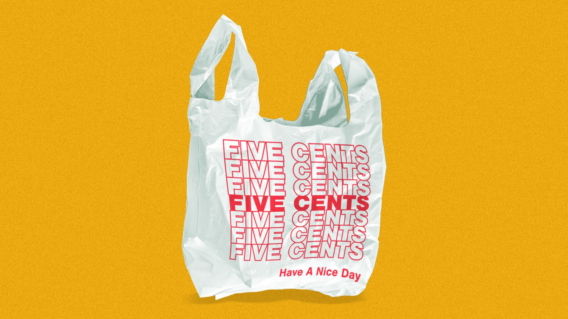 """Illustration of a plastic bag reading """"five cents"""" repeatedly instead of """"thank you."""""""