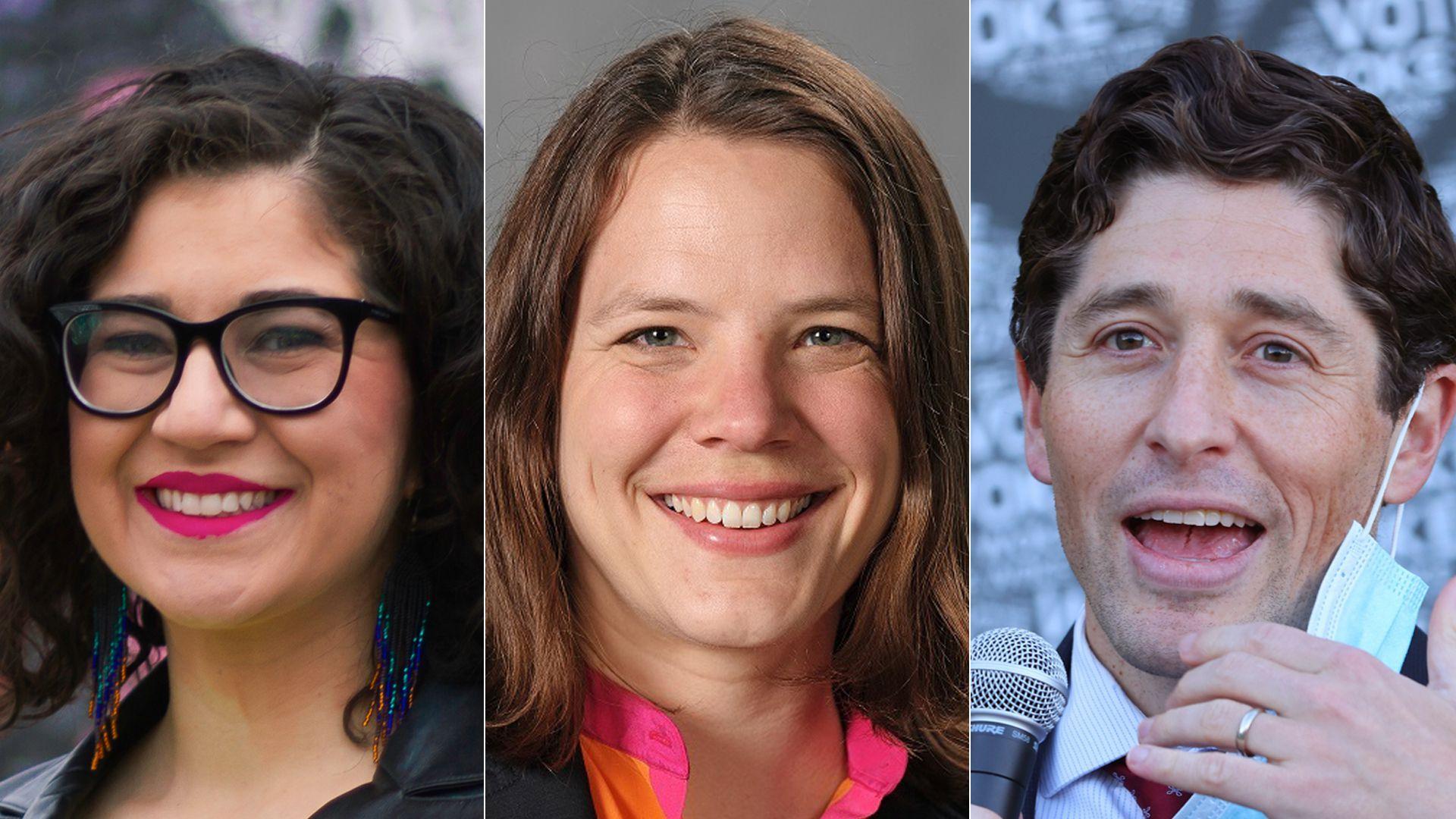 Three headshots of Minneapolis mayoral candidates Sheila Nezhad (left) and Kate Knuth (middle), alongside incumbent Jacob Frey (right).