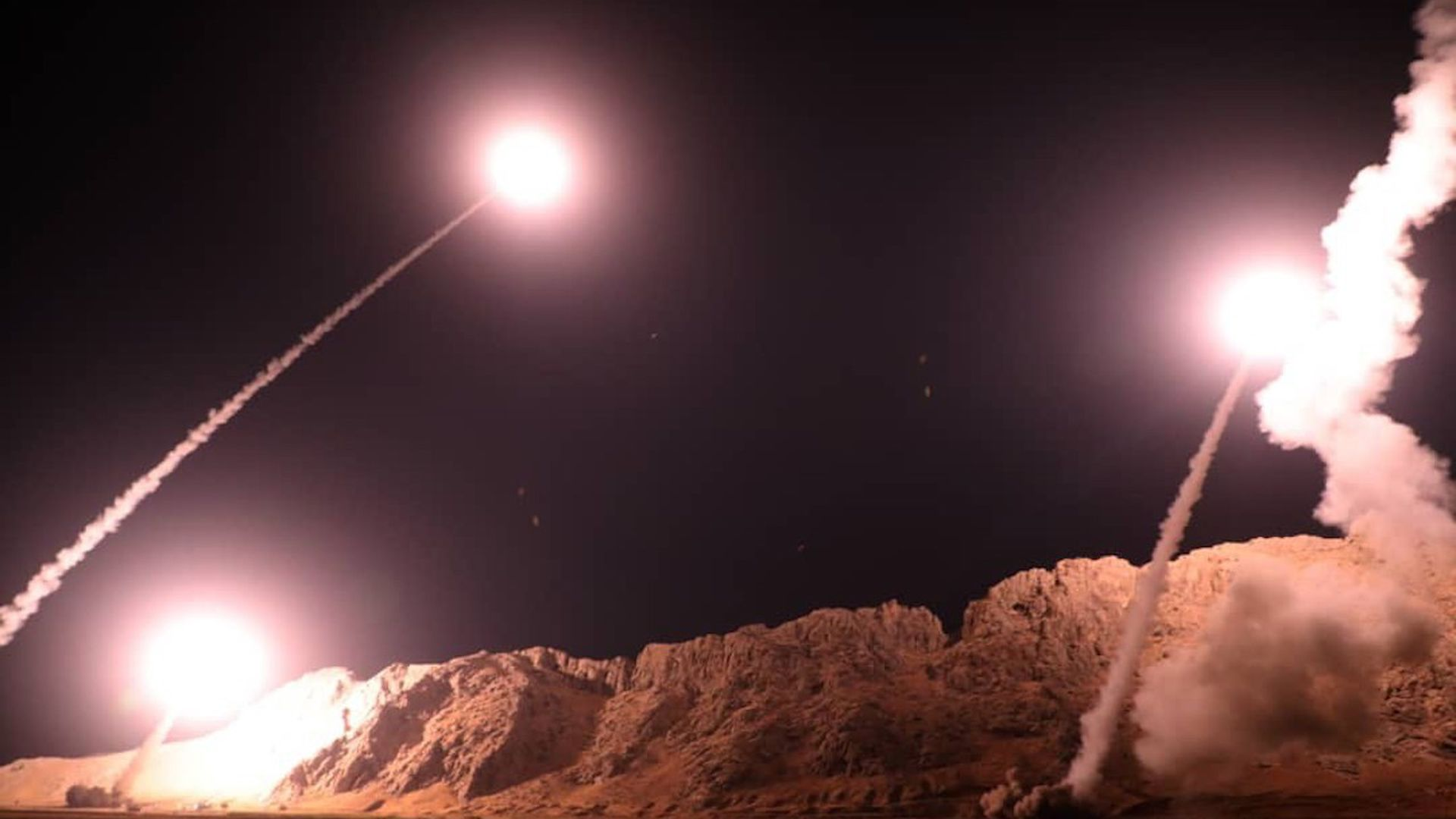 Zulfiqar and Qiam ballistic missiles, targeting Syria, are launched by Irans Revolutionary Guard in Kermanshah, Iran on October 01, 2018.