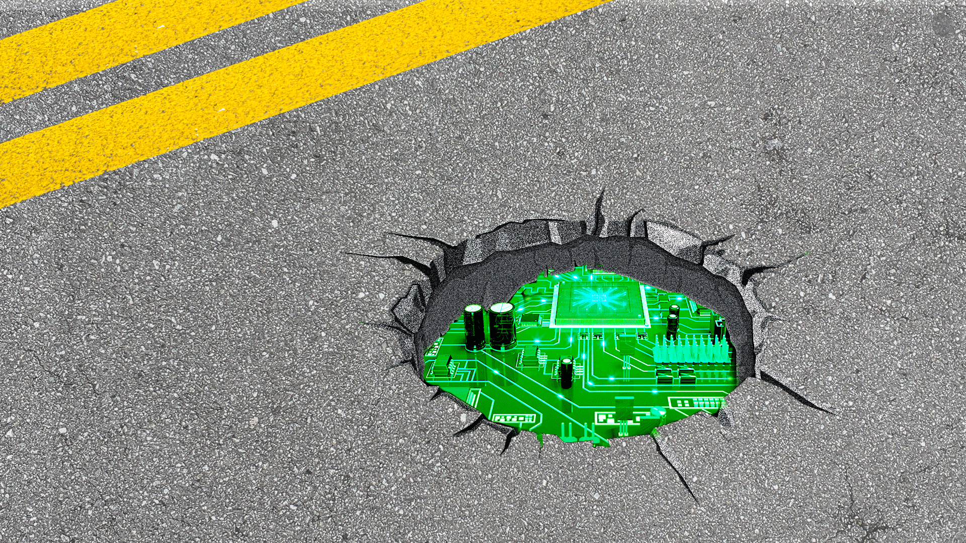 Illustration of a pothole with a circuit board peeking through.