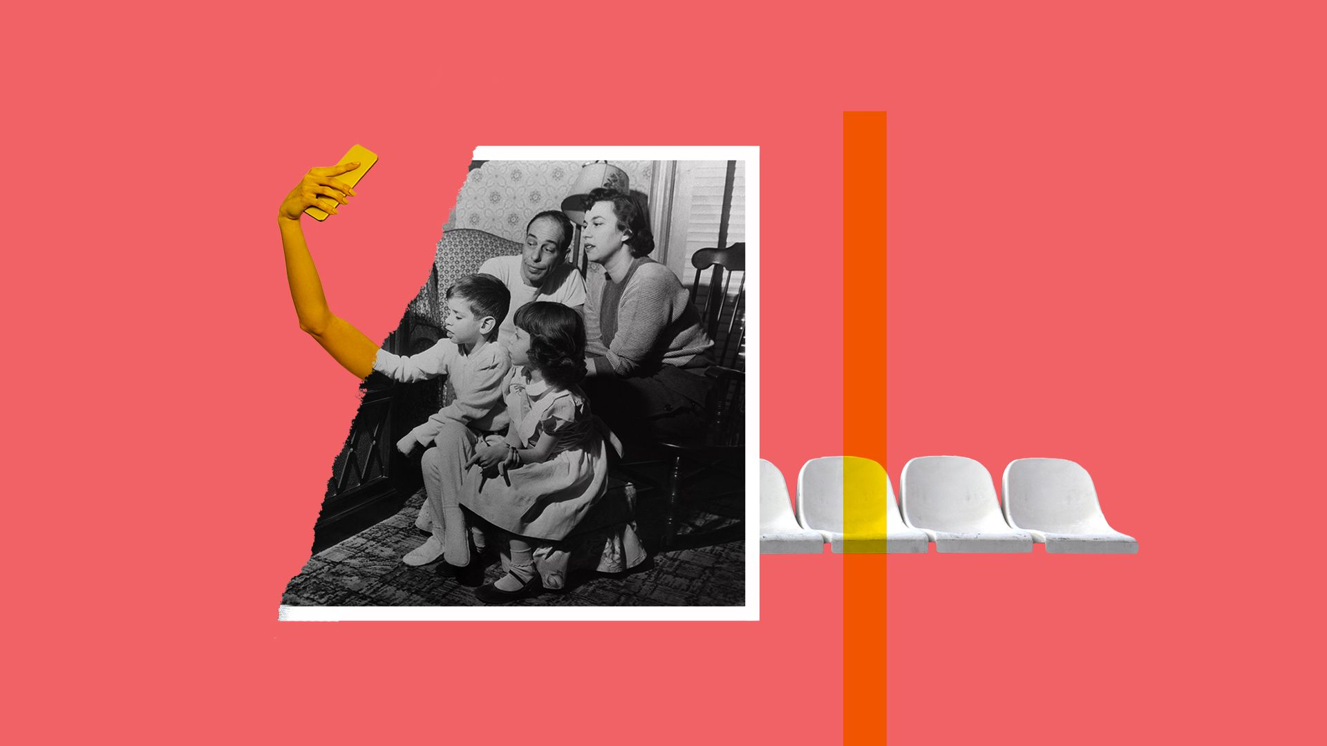 Collage illustration of an arm taking a selfie, laid on top of a torn photograph of a family gathered around a television set. There is a row of empty benches in the background.