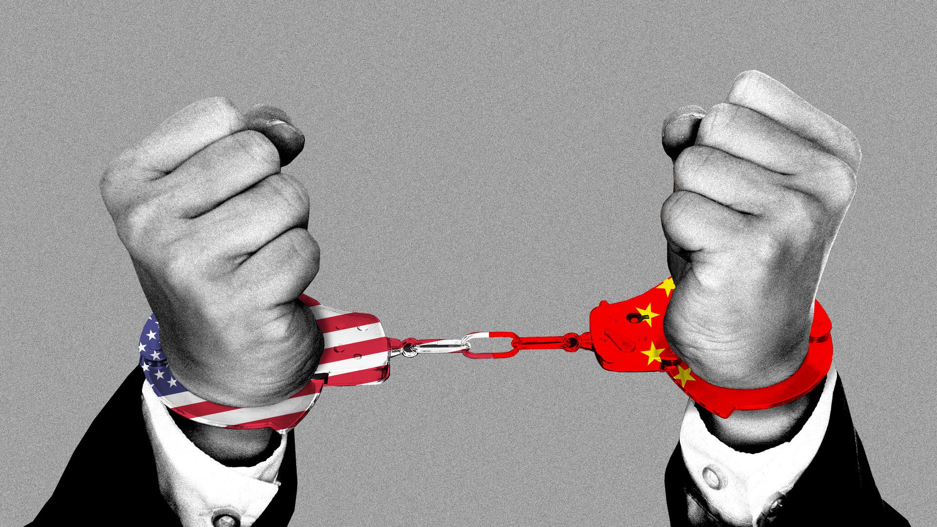 Illustration of man in handcuffs with U.S. and Chinese flags