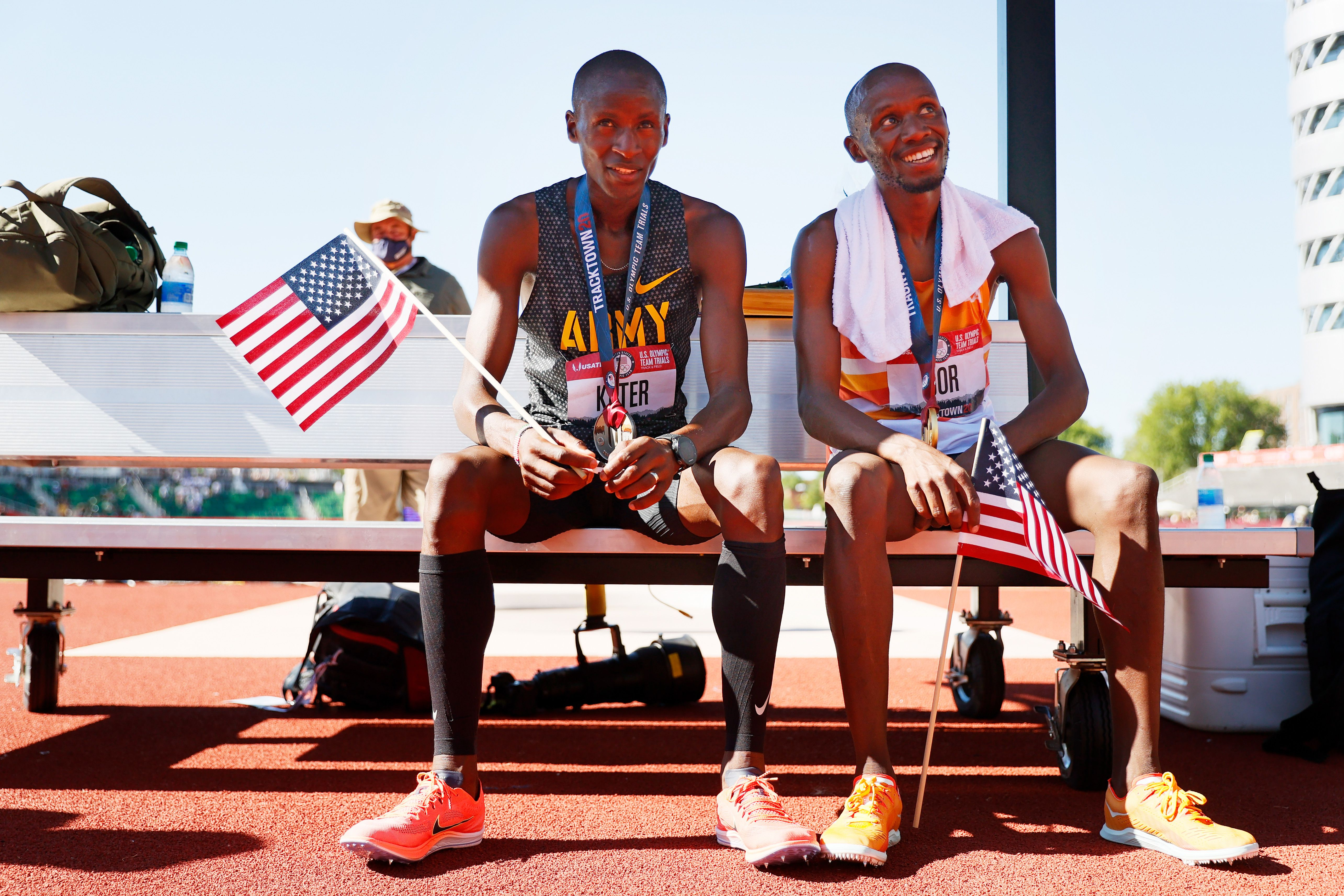 Hillary Bor and Benard Keter in June at the U.S. Olympic trials in Oregon. Photo: Steph Chambers/Getty Images