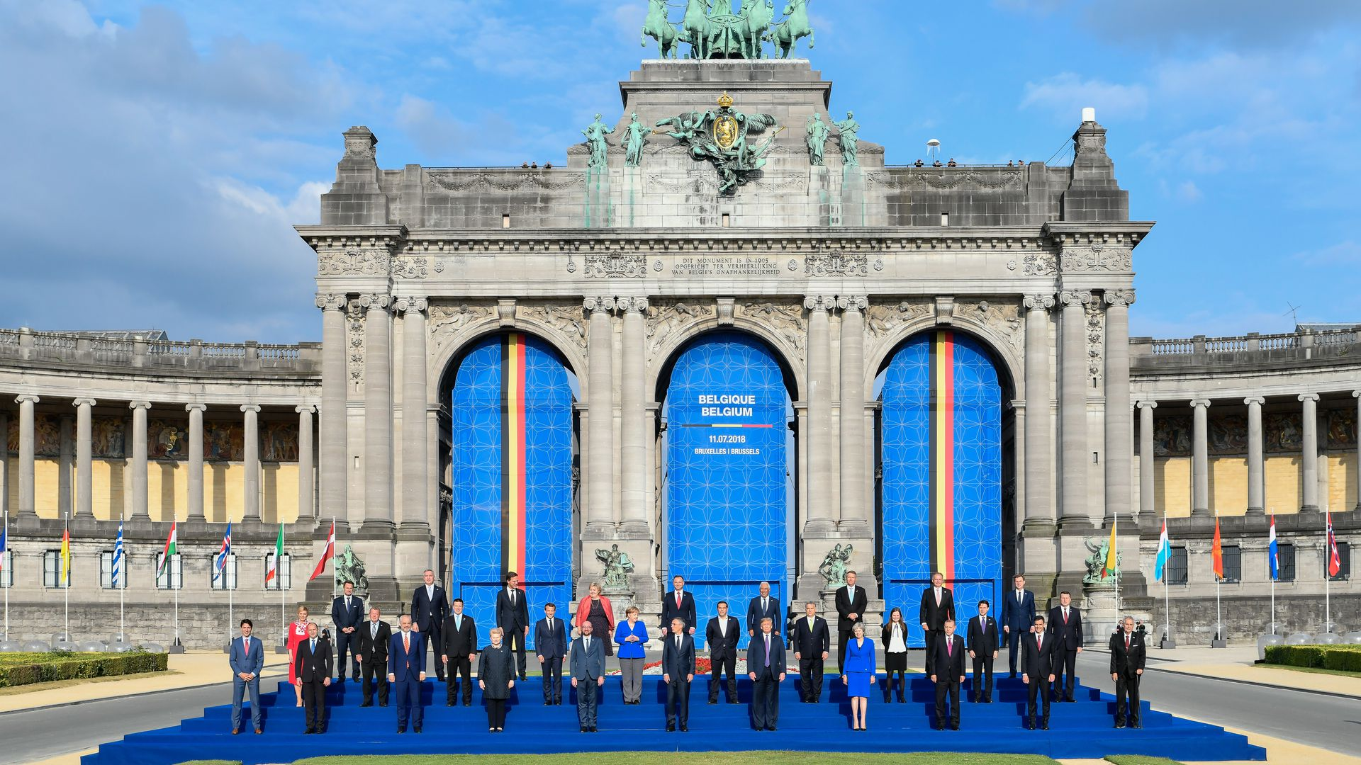 NATO heads of state pose for group photo outside summit in Brussels