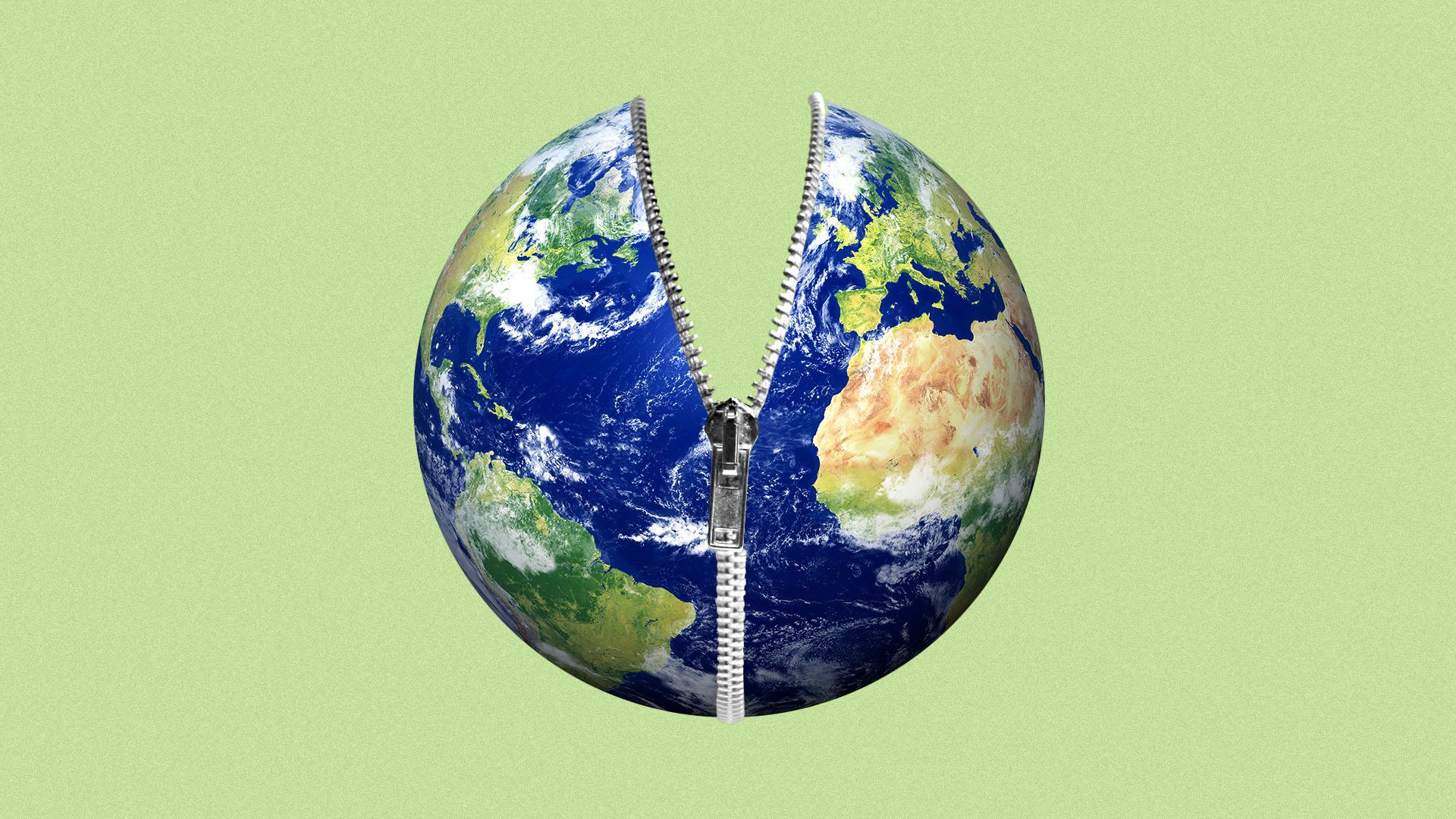 Illustration of Earth being unzipped