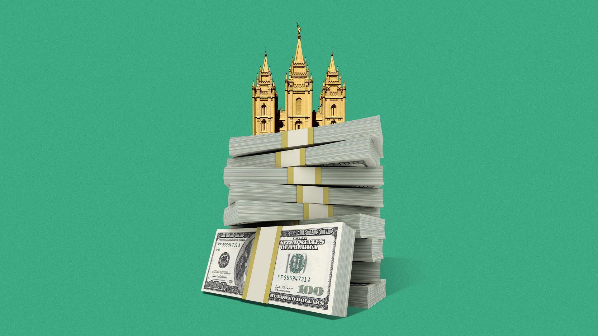 Illustration of the Mormon Church on a pile of money