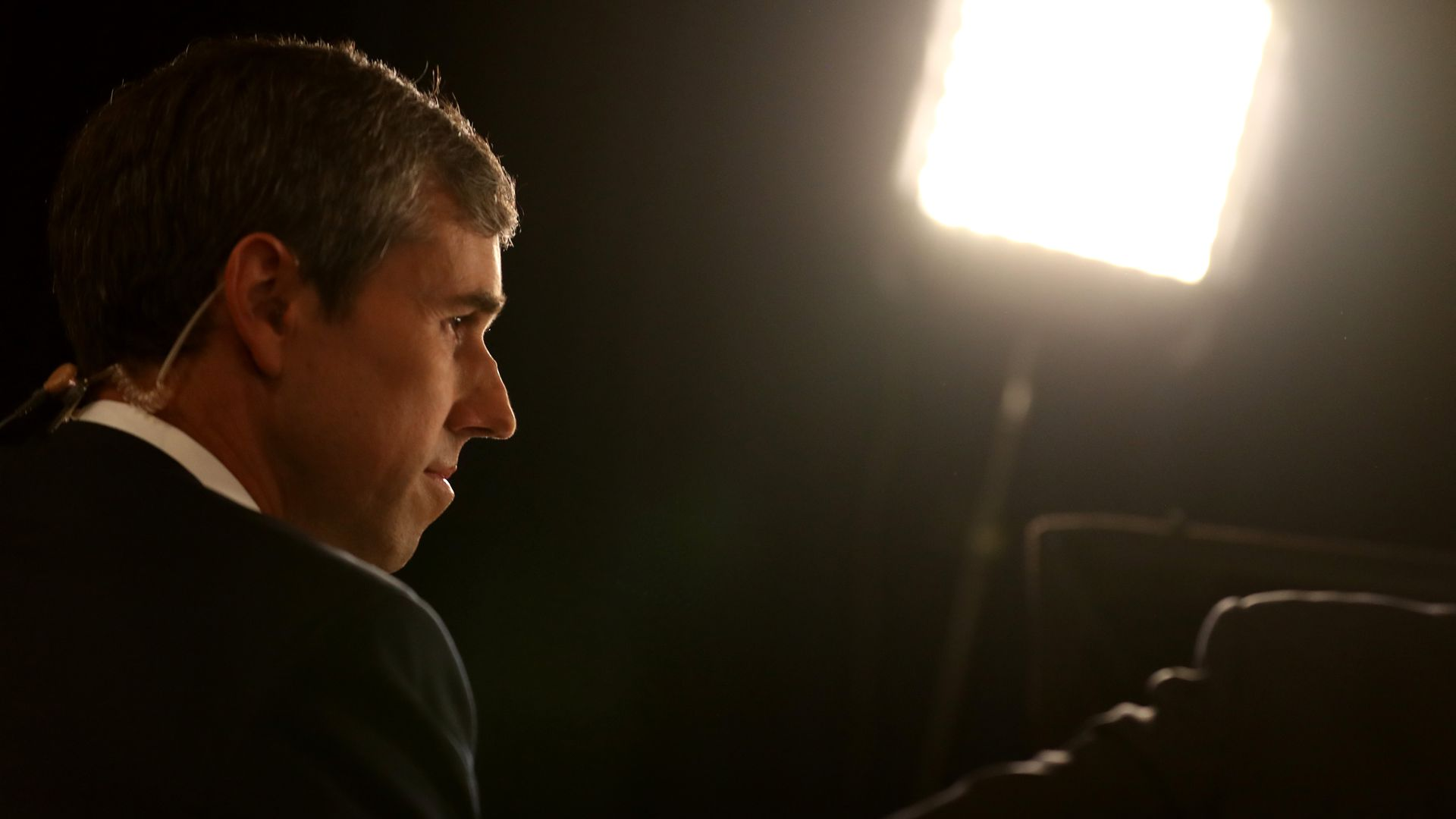 Beto O'Rourke is interviewed in the spin room after last week's debate in Houston. Photo: Justin Sullivan/Getty Images