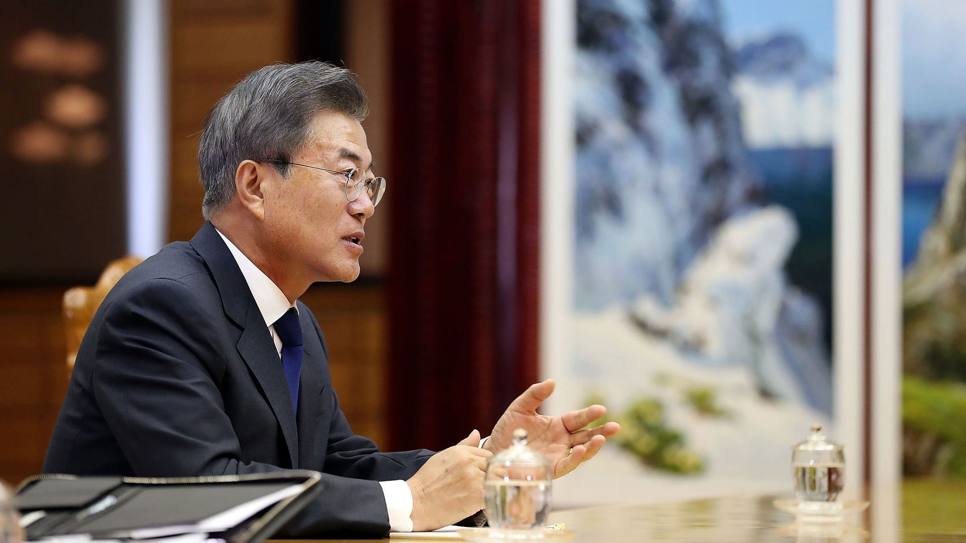 South Korean President Moon Jae-in talks with North Korean leader Kim Jong-un (not pictured).