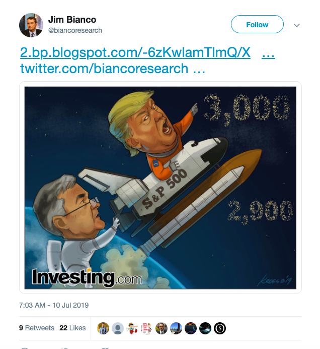 A tweet showing Jay Powell pushing Donald Trump in a spaceship from 2,900 to 3,000 in outer space.