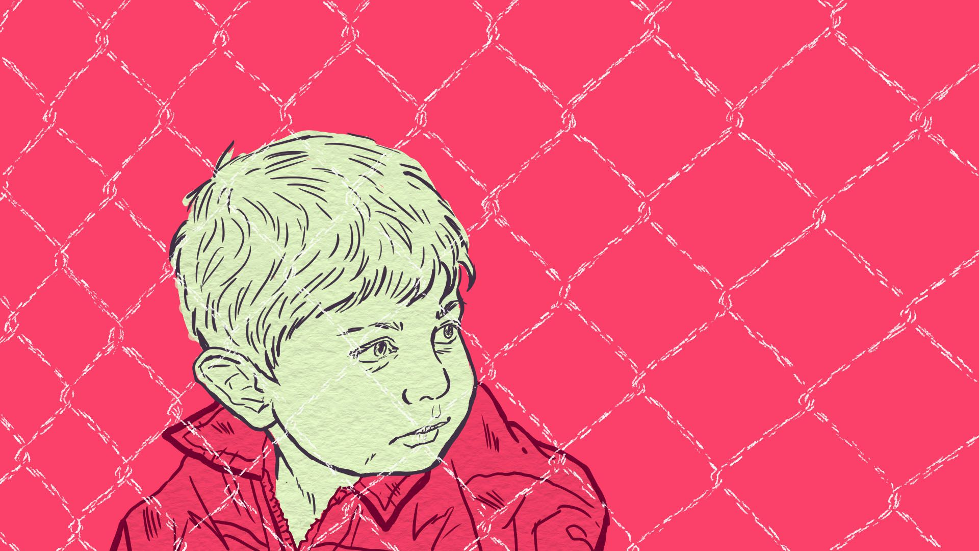 An illustration of a child with a wire fencing in the foreground. It is on a hot pink background.