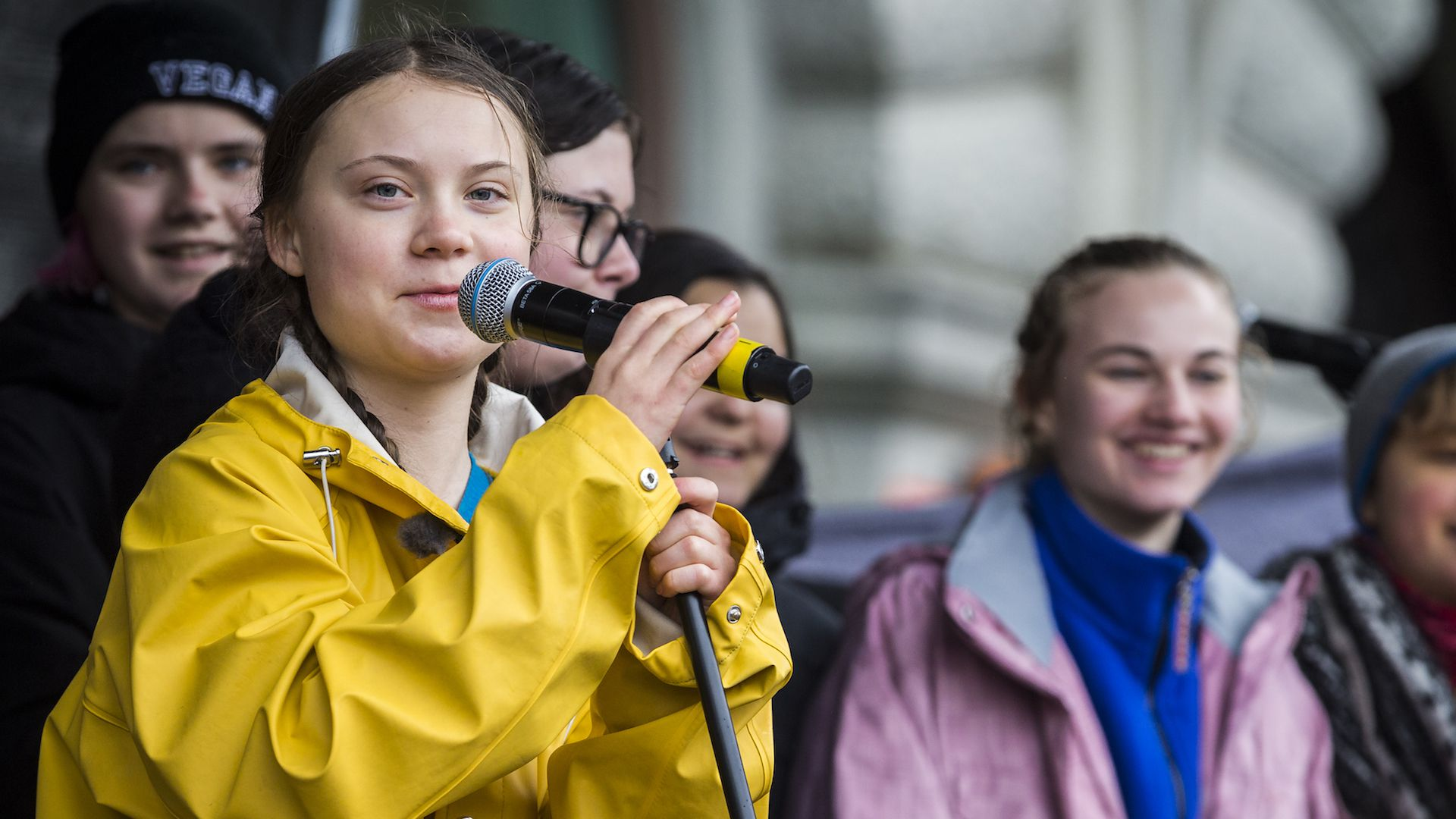 Climate activist Greta Thunberg speaks at a climate rally outside Swedish Parliament on March 15, 2019.