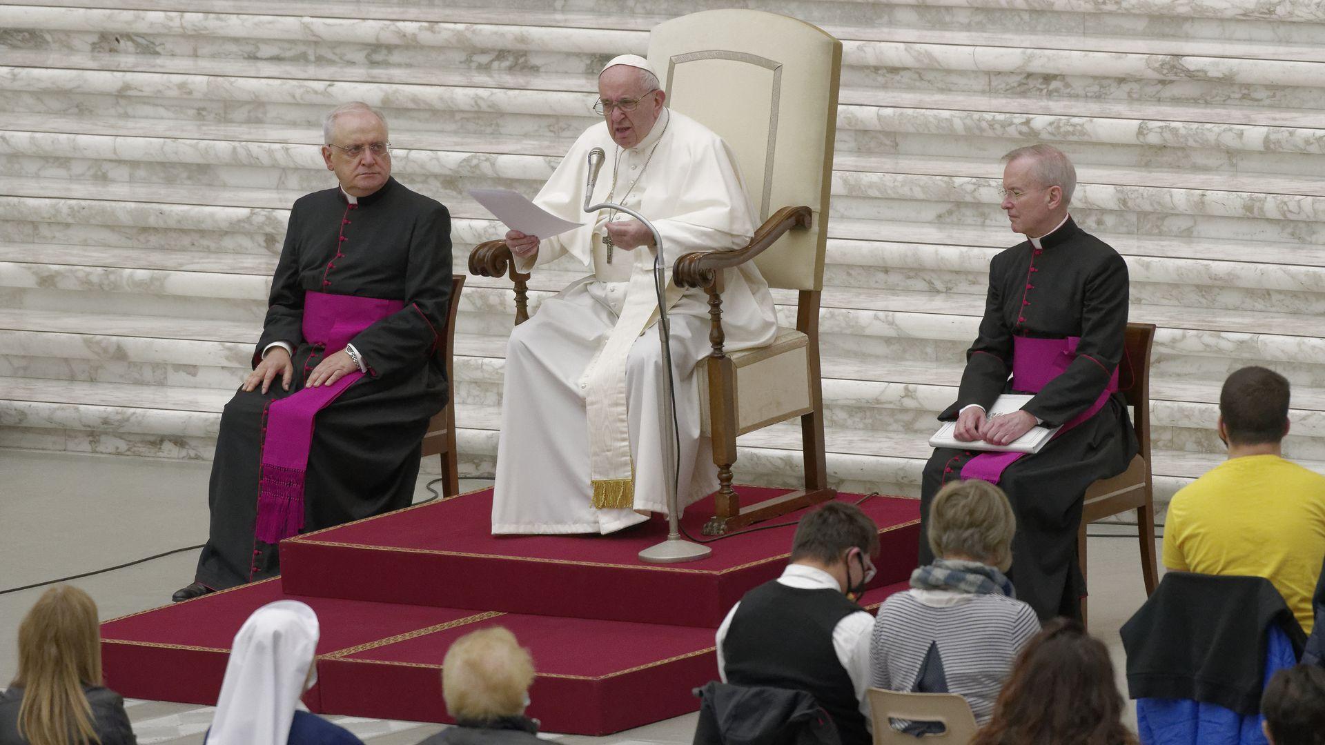 El Papa Francisco en su audiencia general semanal en el Vaticano el 7 de octubre.