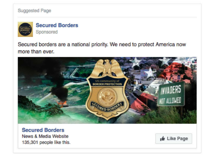 "A Russian propaganda Facebook page called ""Secured Borders,"" had 135,301 followers"