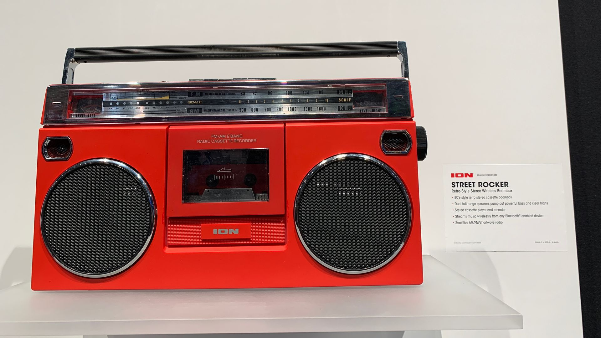 A red boombox