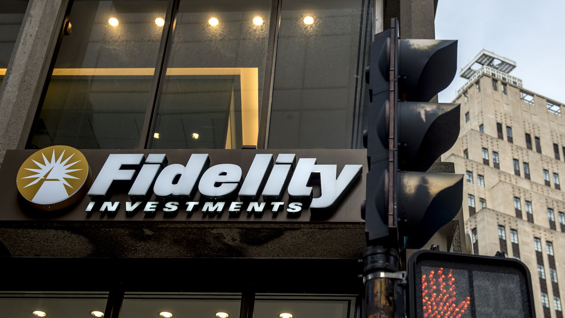 Photo of Fidelity Investments building sign.