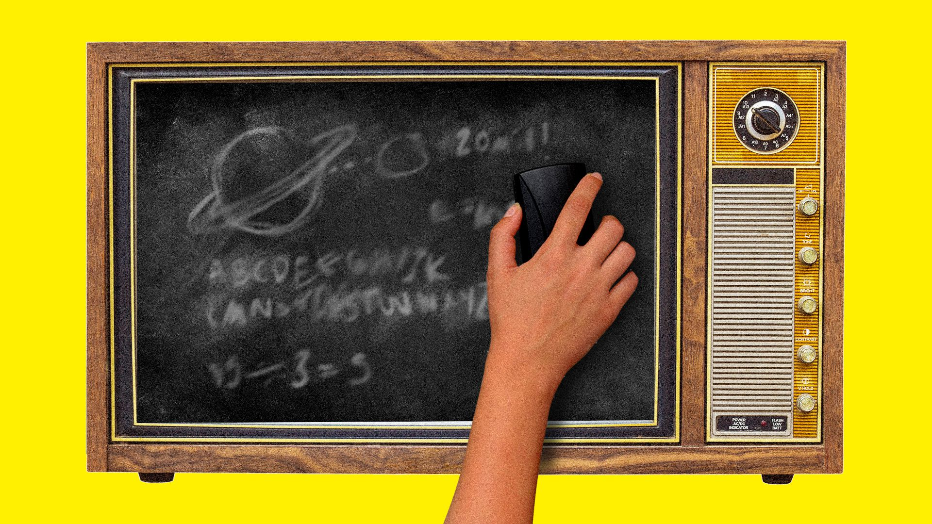 A child's hand erases a TV screen that looks like a chalkboard