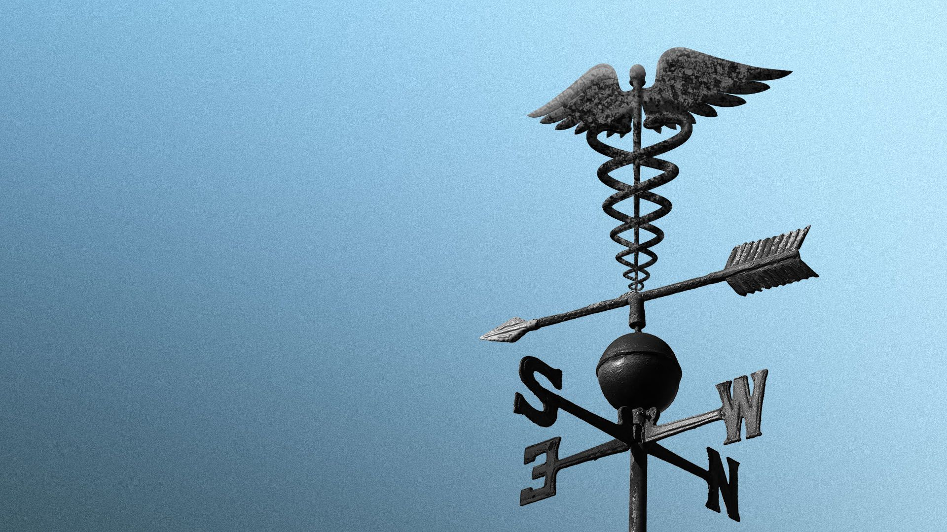 Illustration of a weathervane with a caduceus at the top point towards darker skies