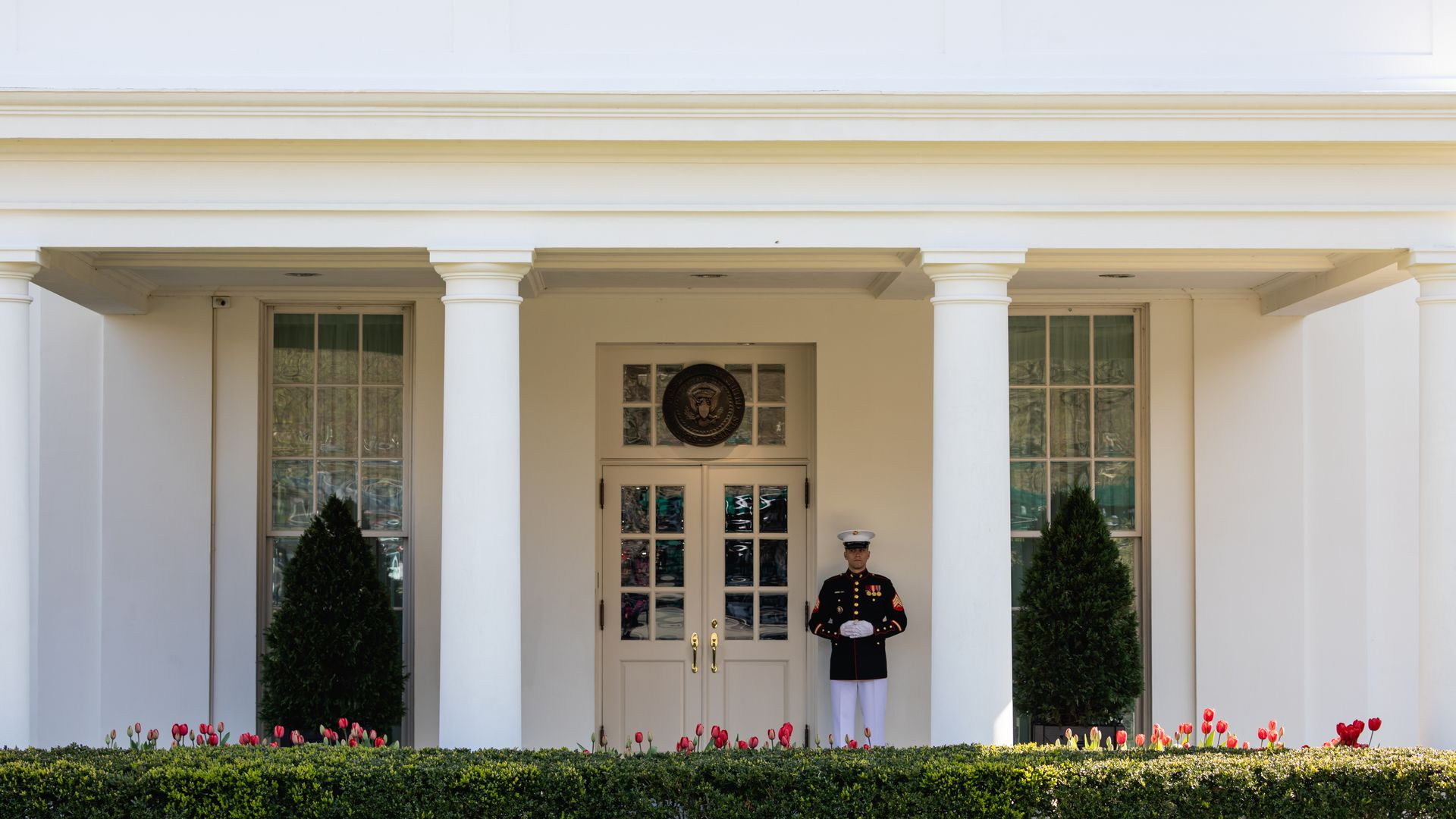 A U.S. Marine stands outside the West Wing of the White House.