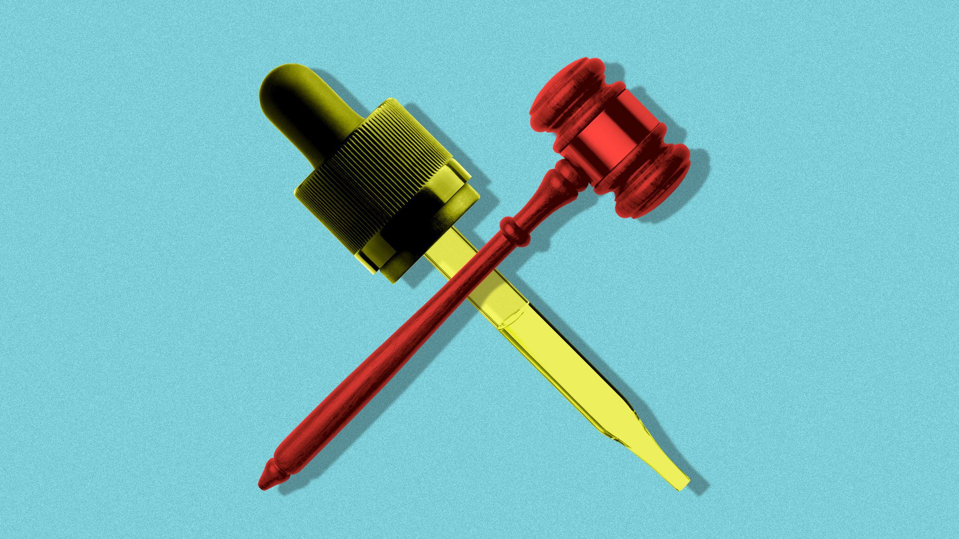 Illustration of a CBD oil dropper crossed with a gavel.
