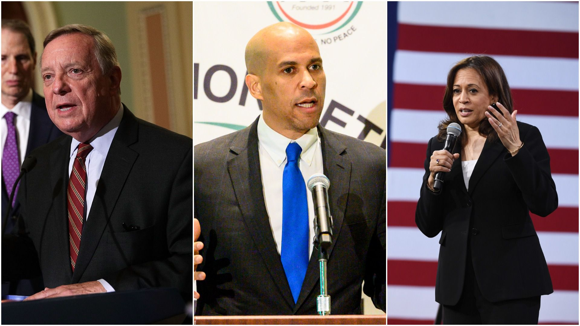 Senators Dick Durbin, Cory Booker and Kamala Harris