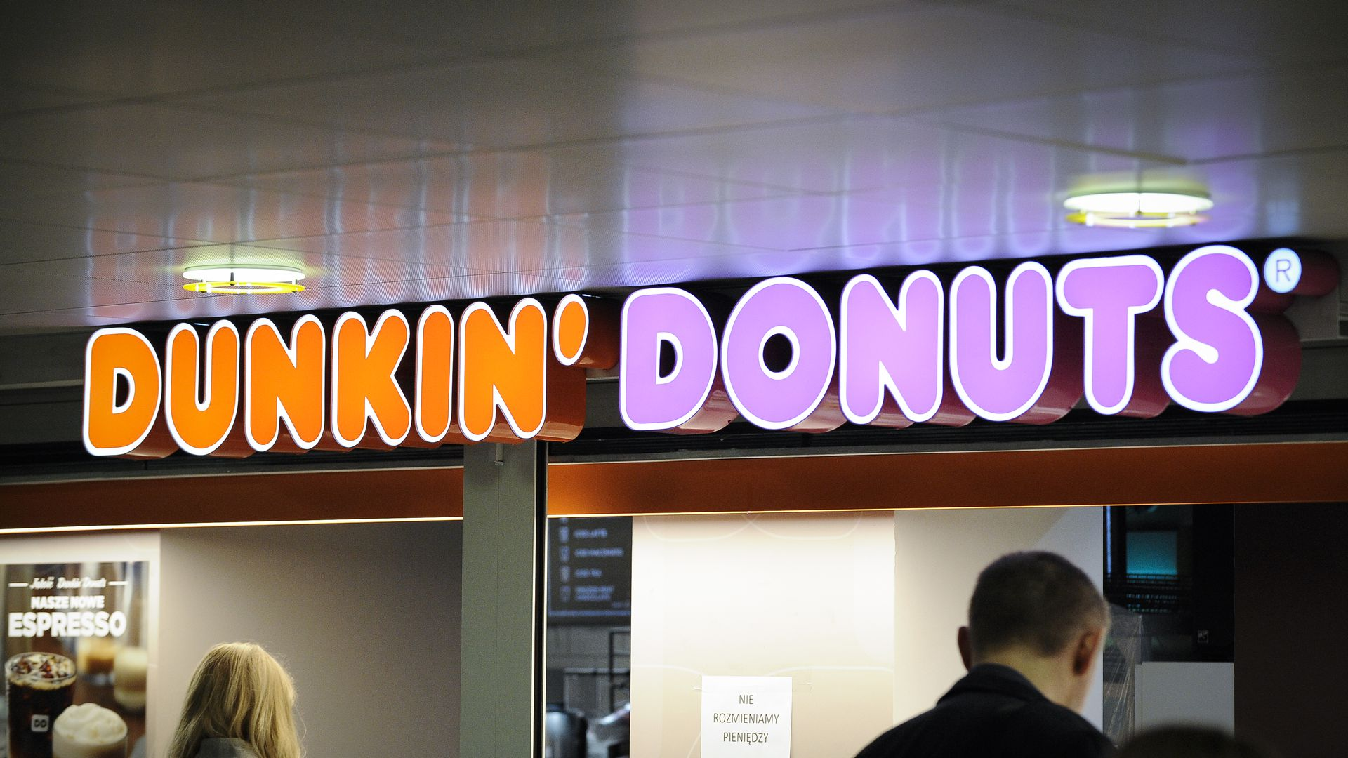Dunkin' Donuts neon sign.