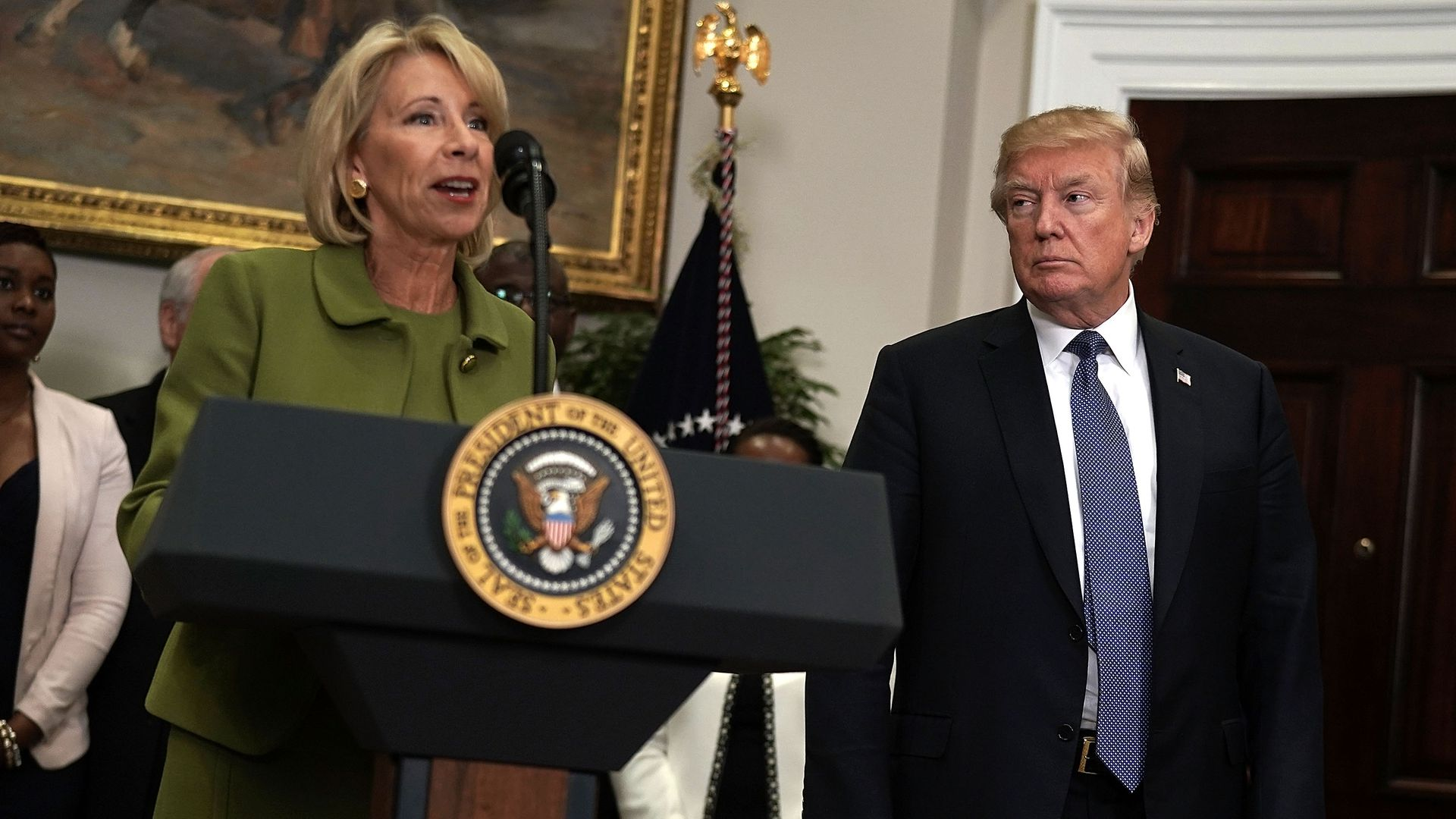 Education Secretary Betsy DeVos and President Donald Trump. Photo: Alex Wong/Getty Images