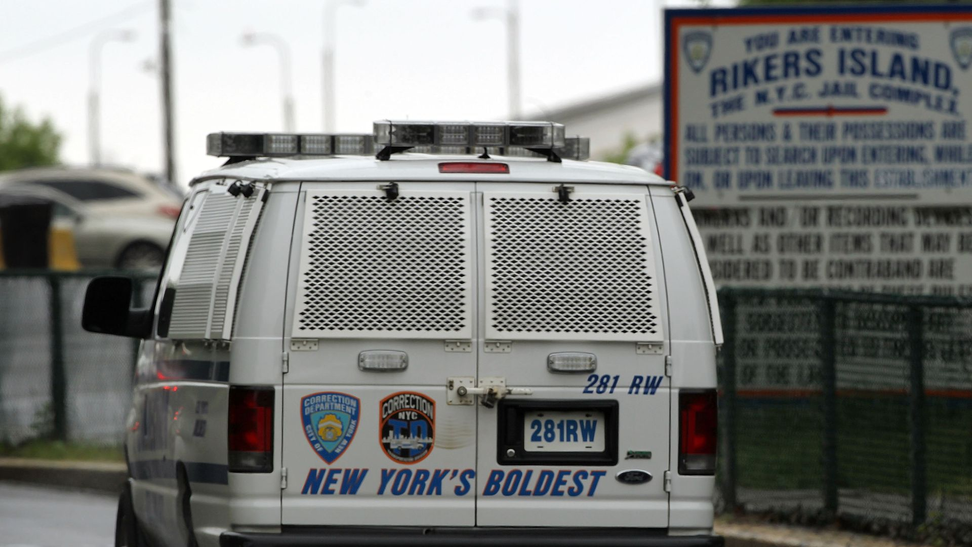 Entrance of the Rikers Island prison complex in New York City. Photo: Spencer Platt/Getty Images