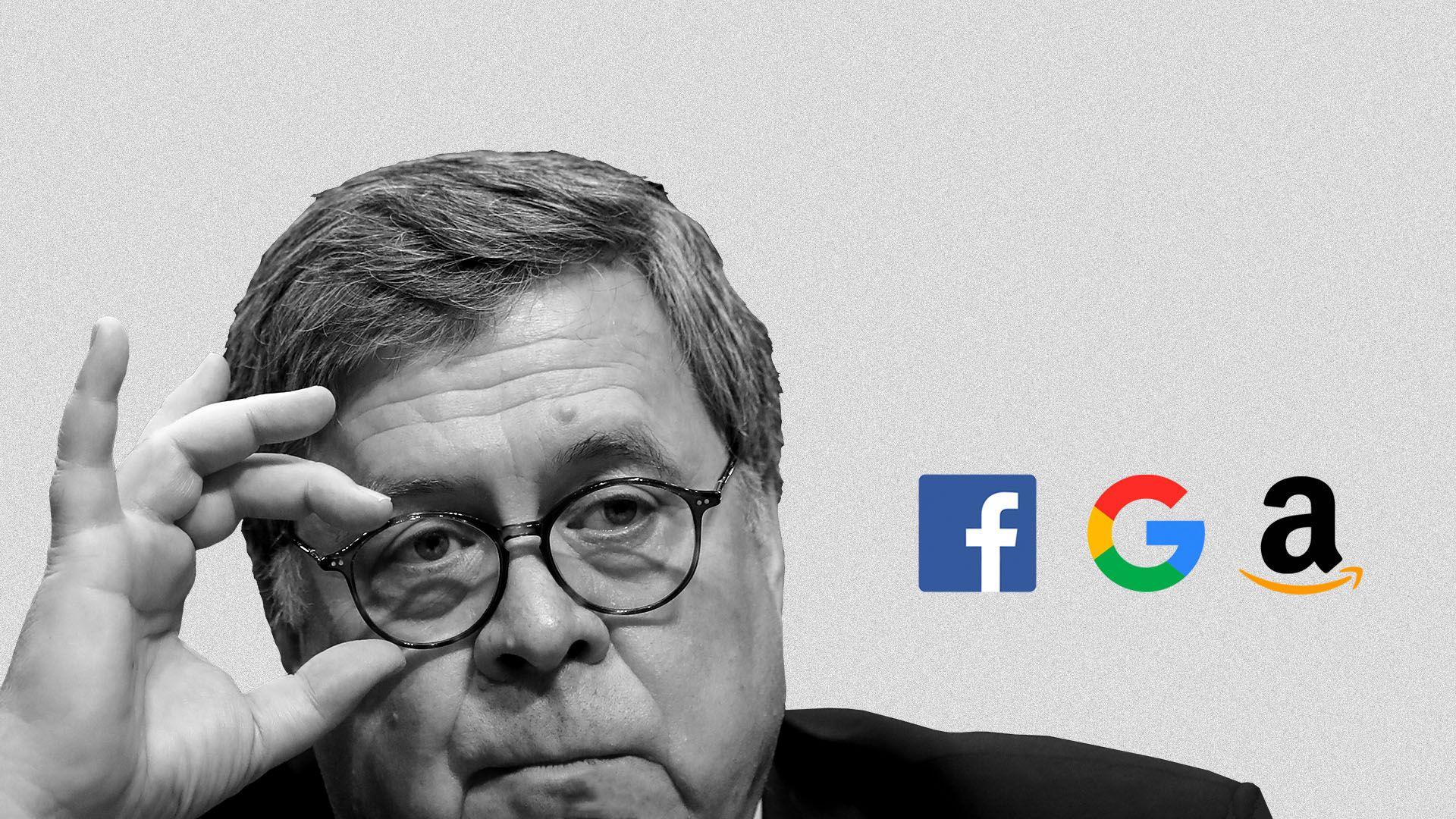 Illustration of Bill Barr scrutinizing logos of Facebook, Google, and Amazon