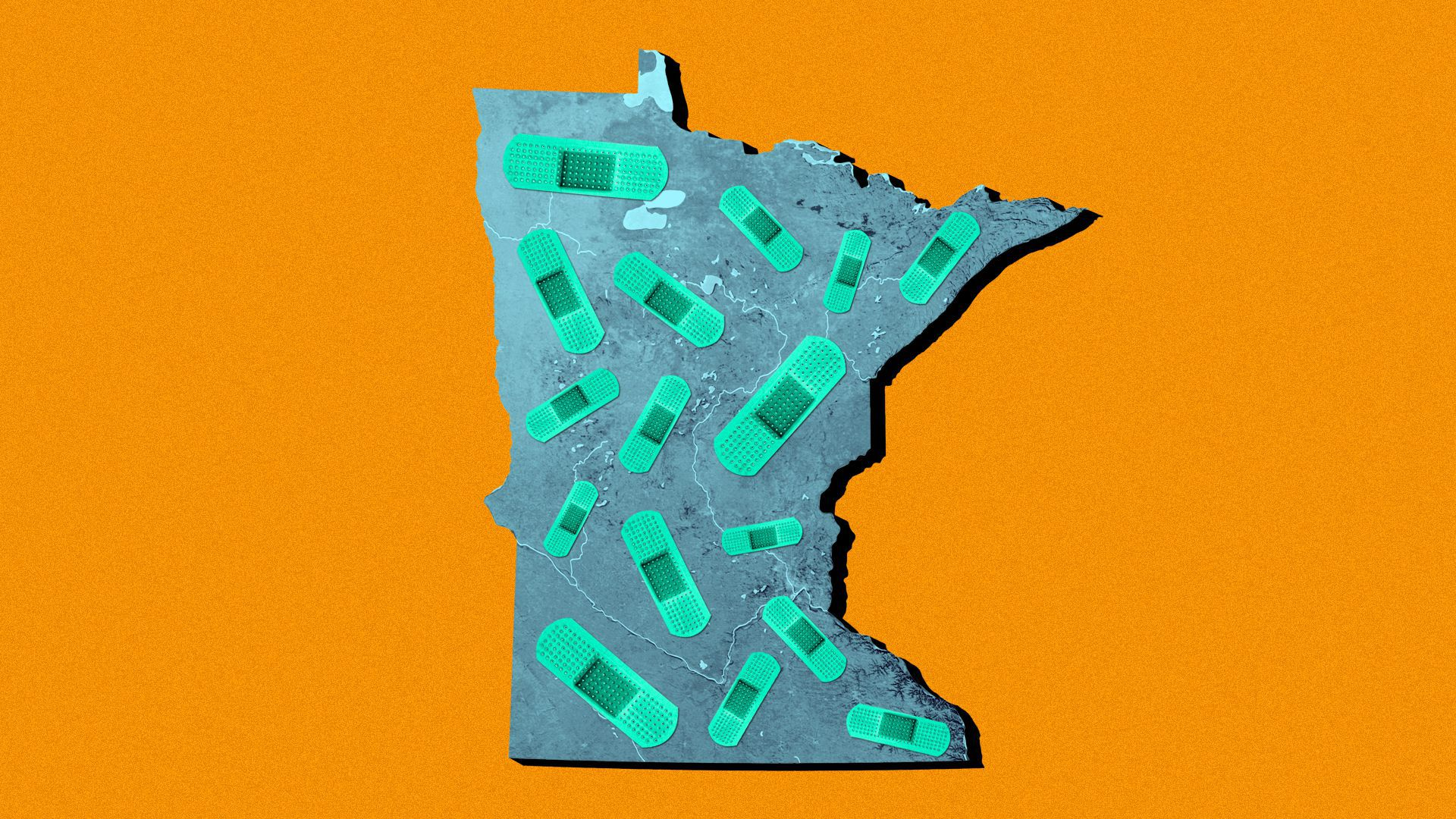 Illustration of the state of Minnesota covered in bandages.