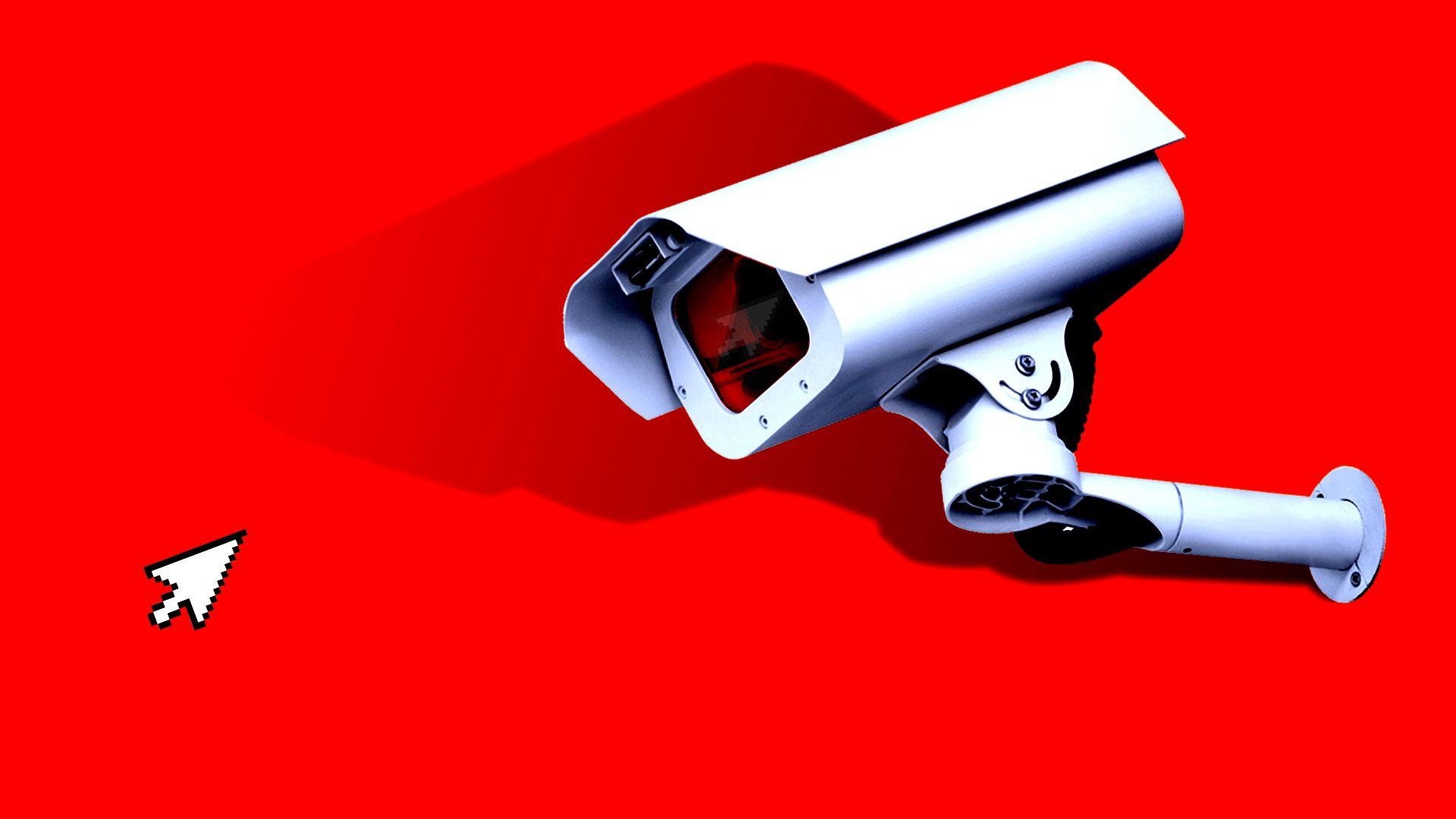 A security camera points at a computer cursor against a red backdrop