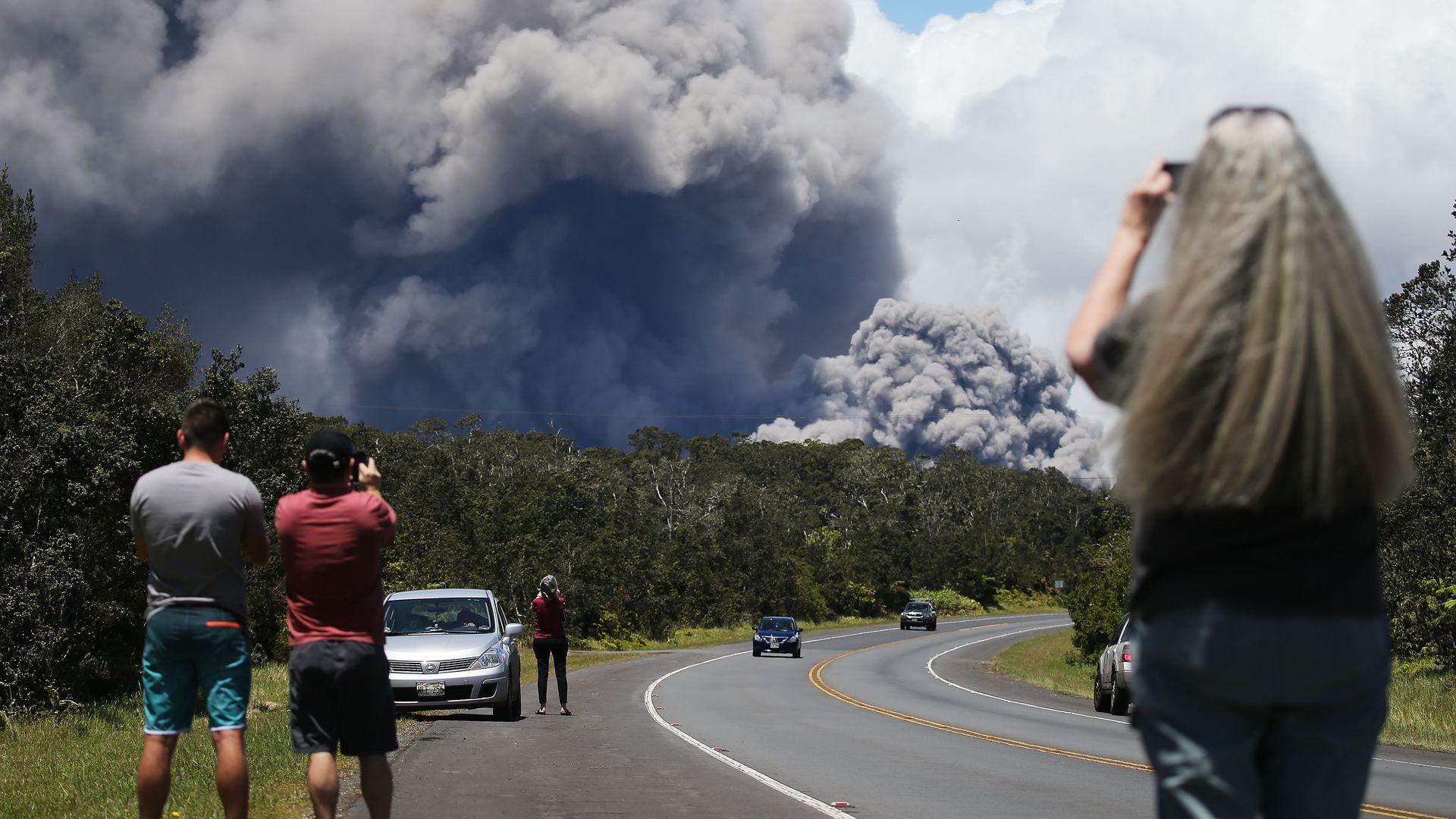 VOLCANO, HI - MAY 15: An ash plume rises from the Kilauea volcano on Hawaii's Big Island on May 15.