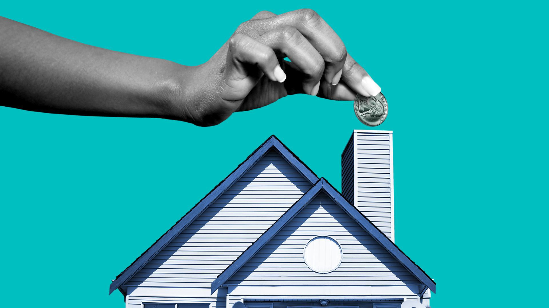 Illustration of a hand placing a quarter into a house chimney.
