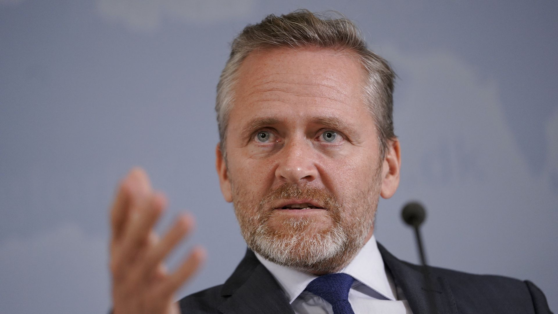 Danish Foreign Minister Anders Samuelsen gives a press conference in Copenhagen, on October 30, 2018.