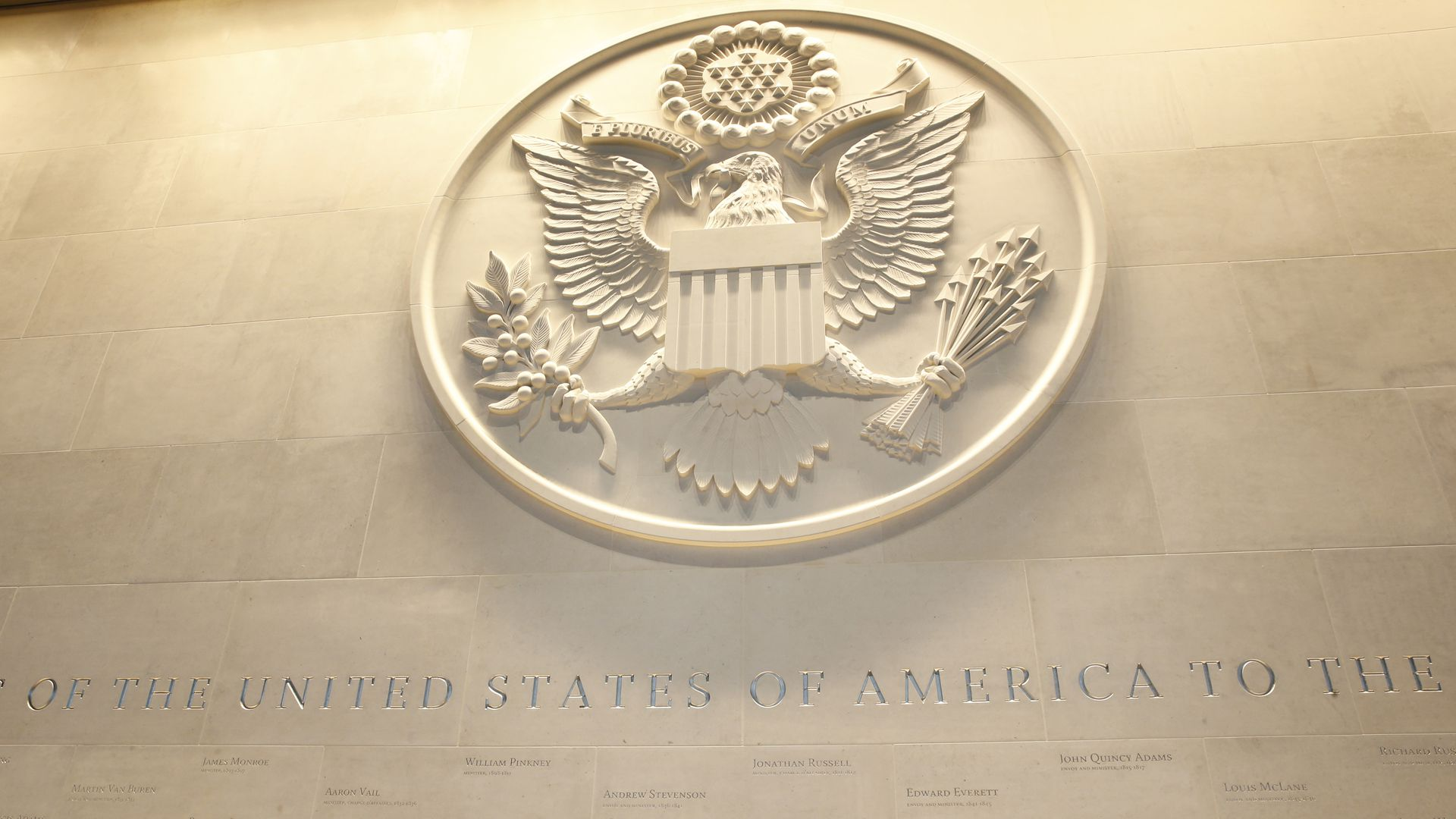 A photo of the State Department seal