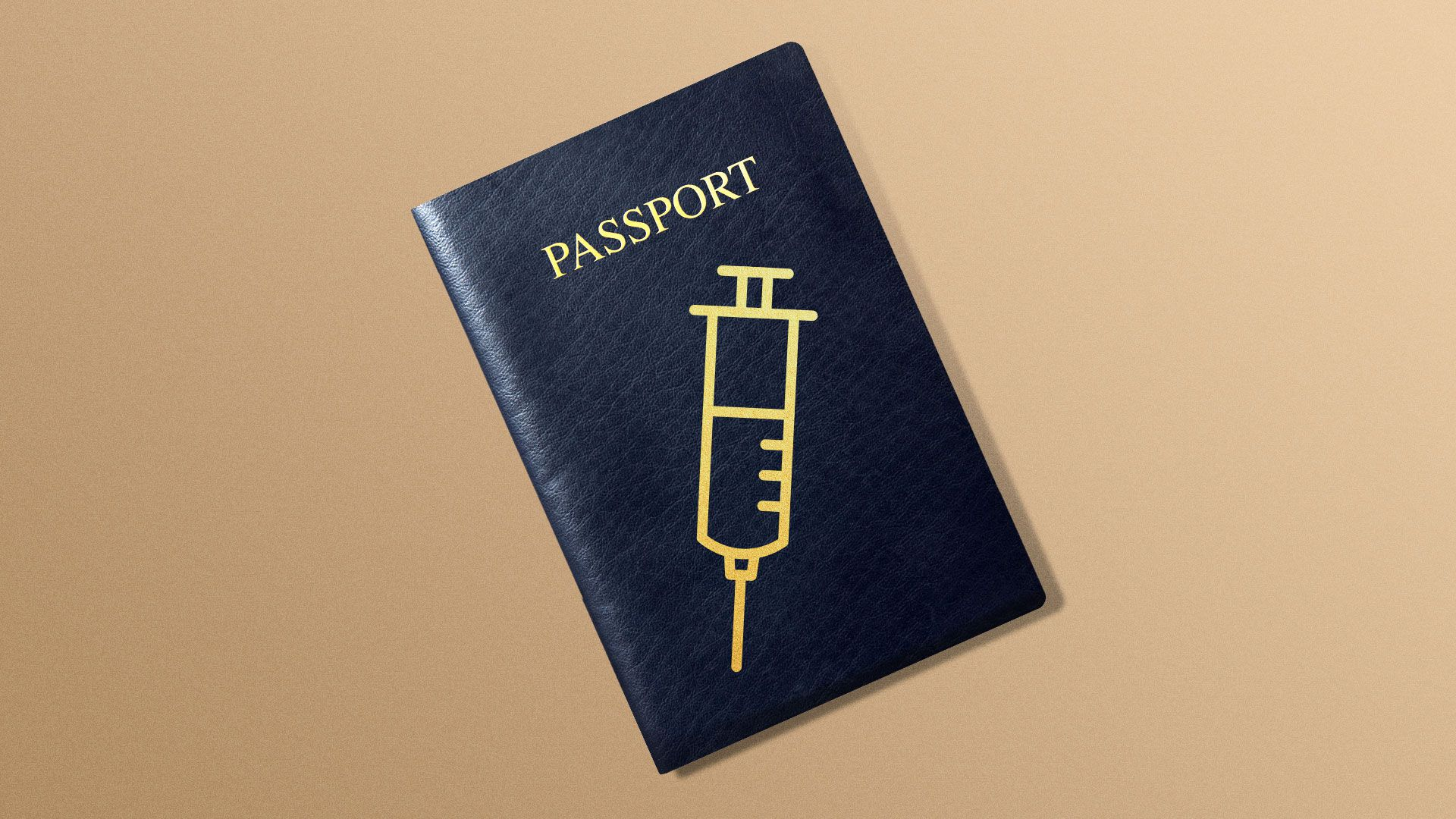 Illustration of a passport with a syringe on the cover.