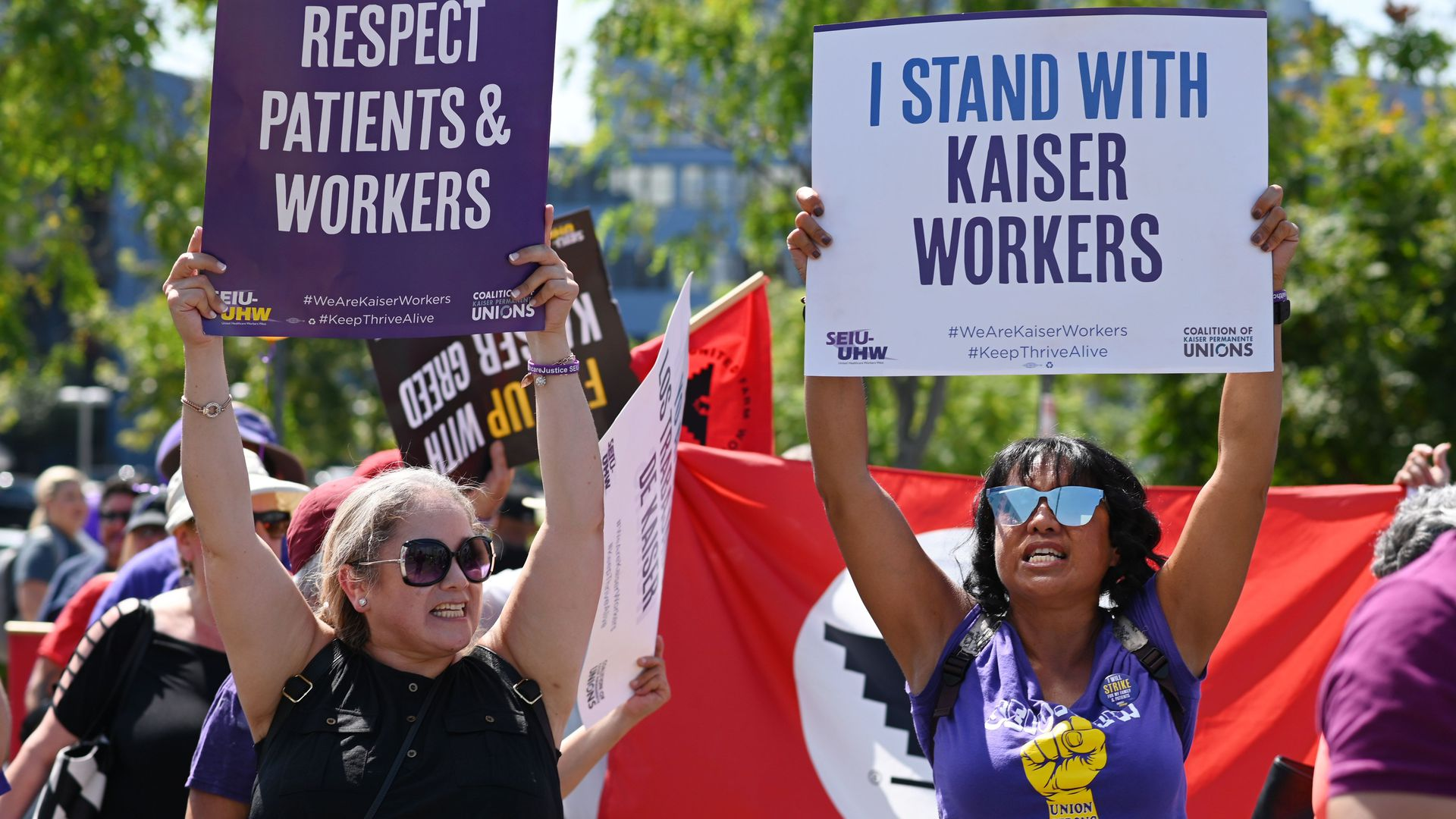 Kaiser Permanente healthcare workers, patients and their supporters march