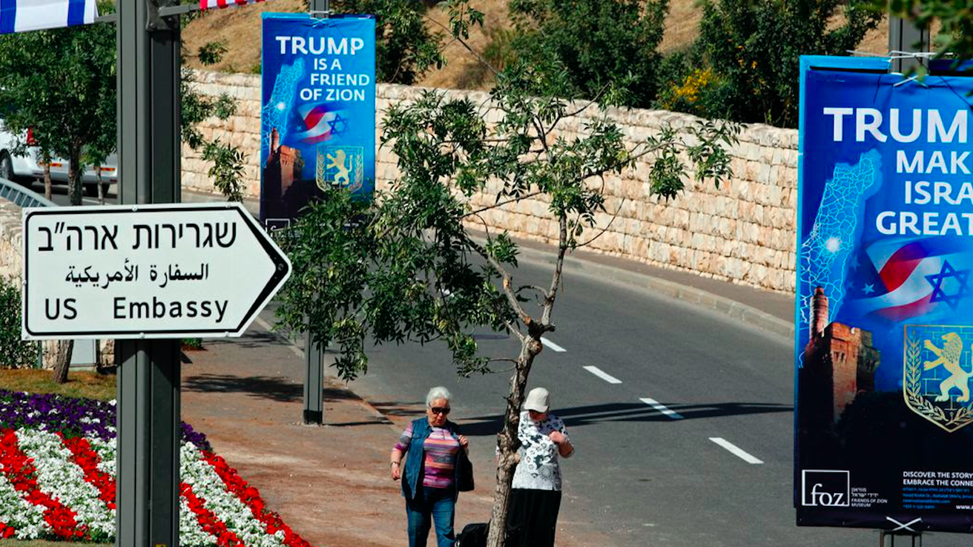 Sign pointing to the new U.S. embassy in Jerusalem