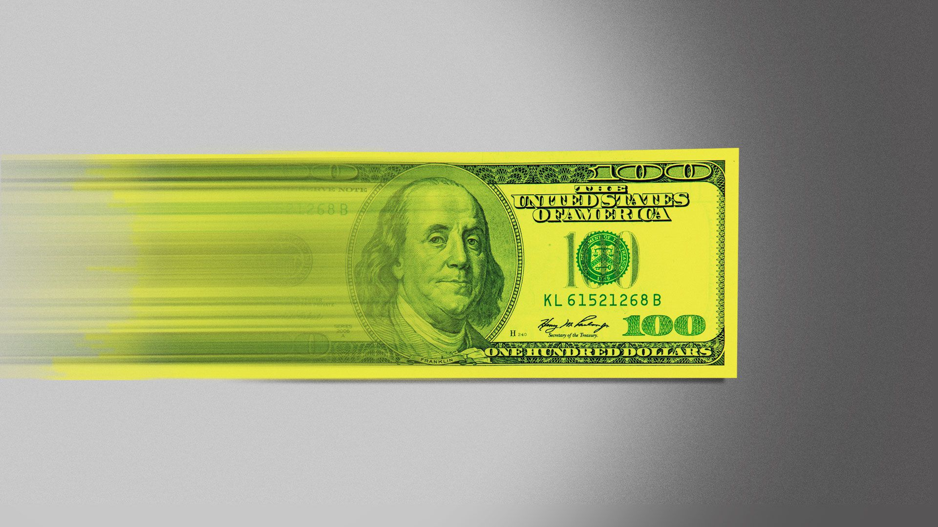 Illustration of a $100 bill accelerating to warp speed