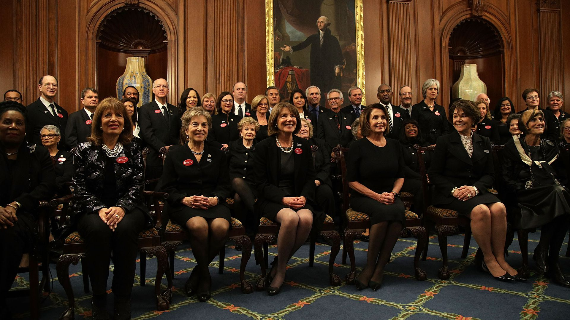 House Minority Leader Rep. Nancy Pelosi and other House Democrats wear black prior to President Donald Trump's first State of the Union address.