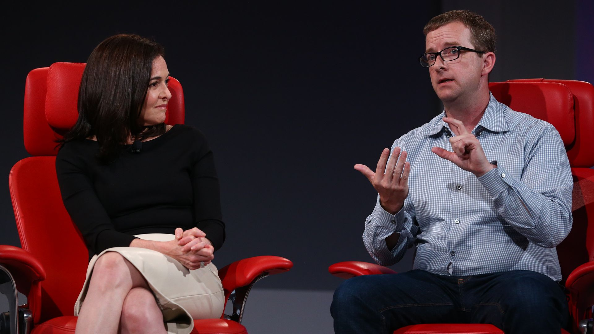 Facebook COO Sheryl Sandberg and CTO Mike Schroepfer speaking at Code Conference